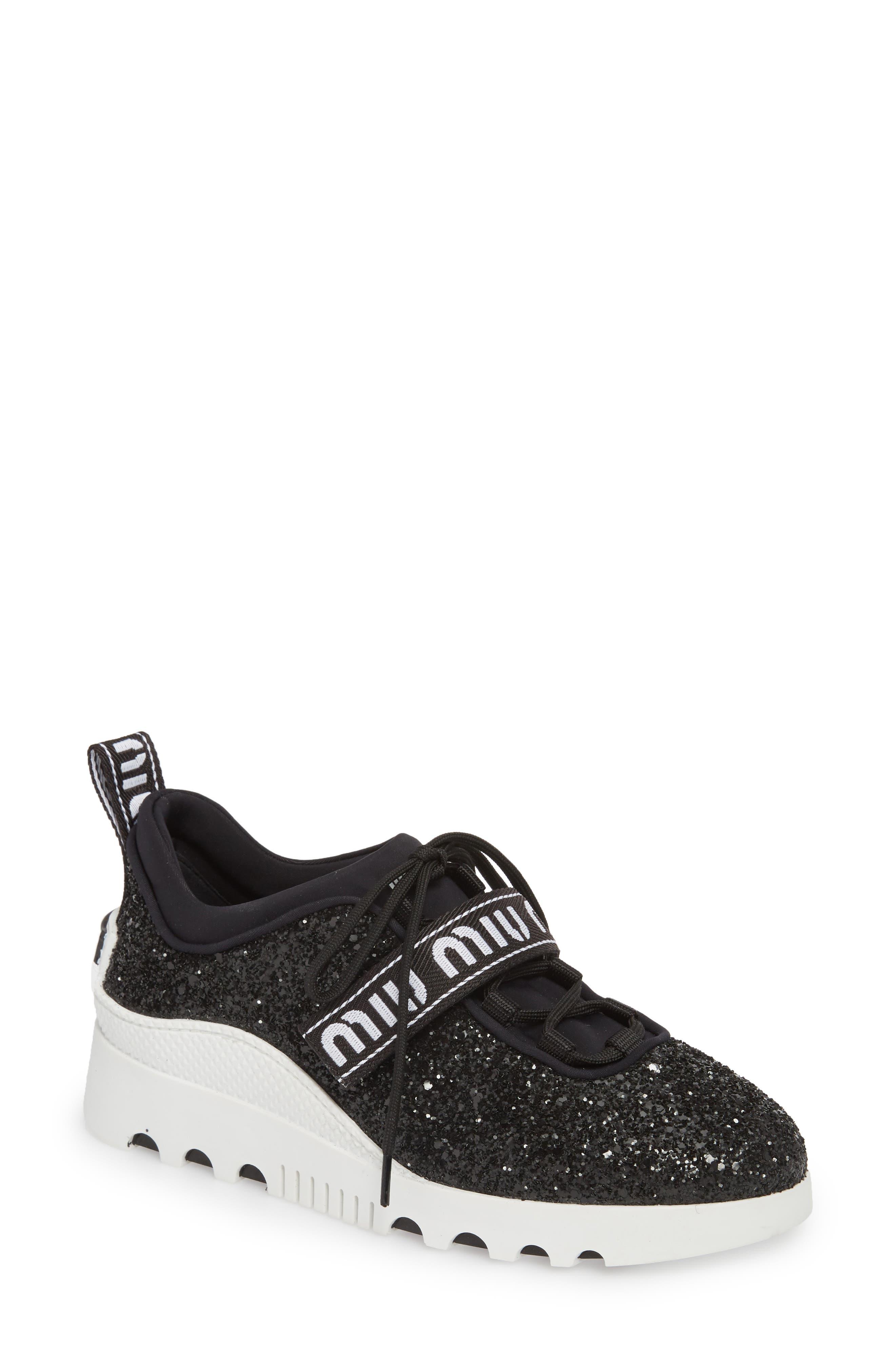 Logo Strap Platform Sneaker,                         Main,                         color, BLACK GLITTER