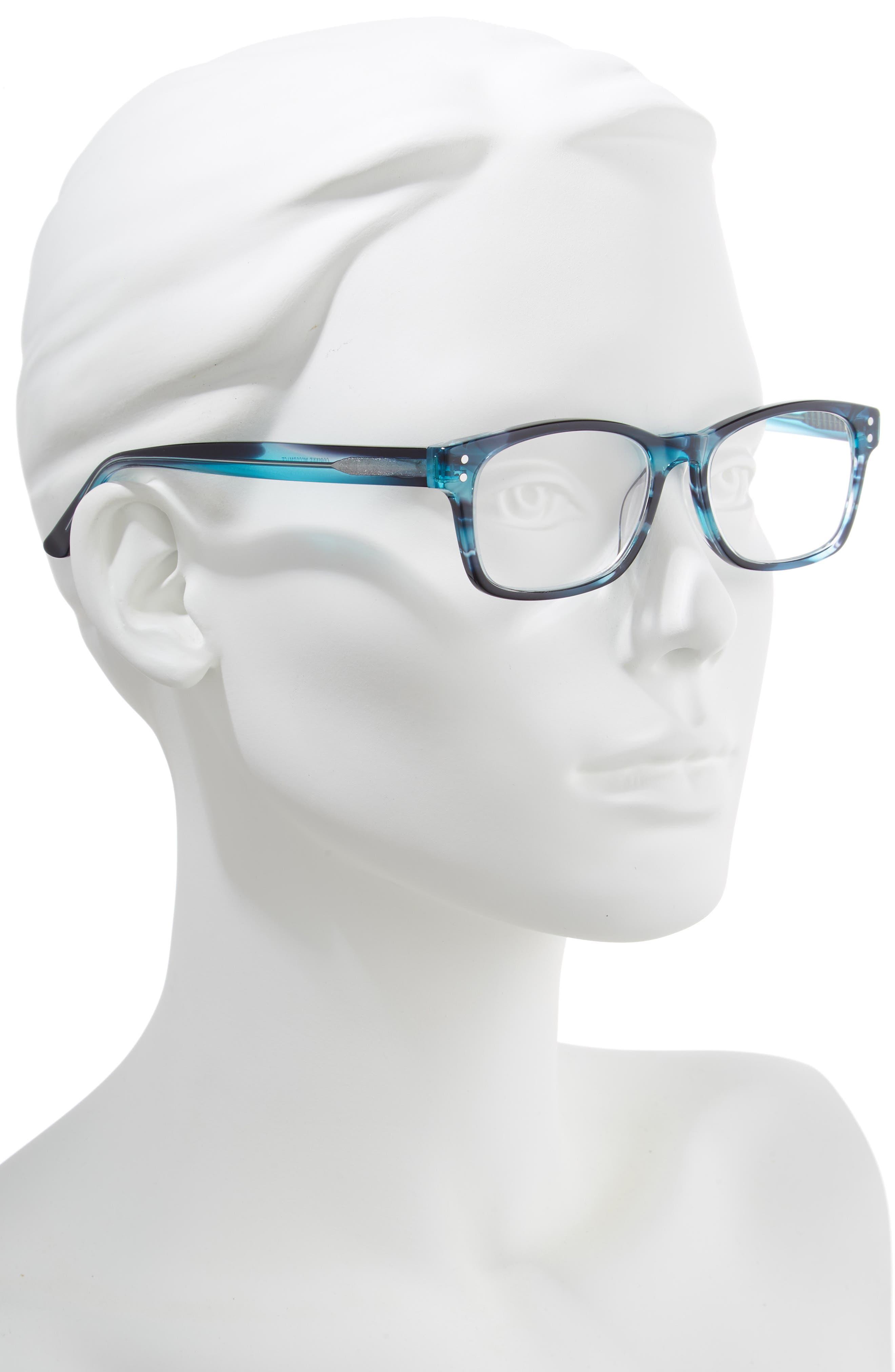 Edie 52mm Reading Glasses,                             Alternate thumbnail 2, color,                             TEAL BLUE