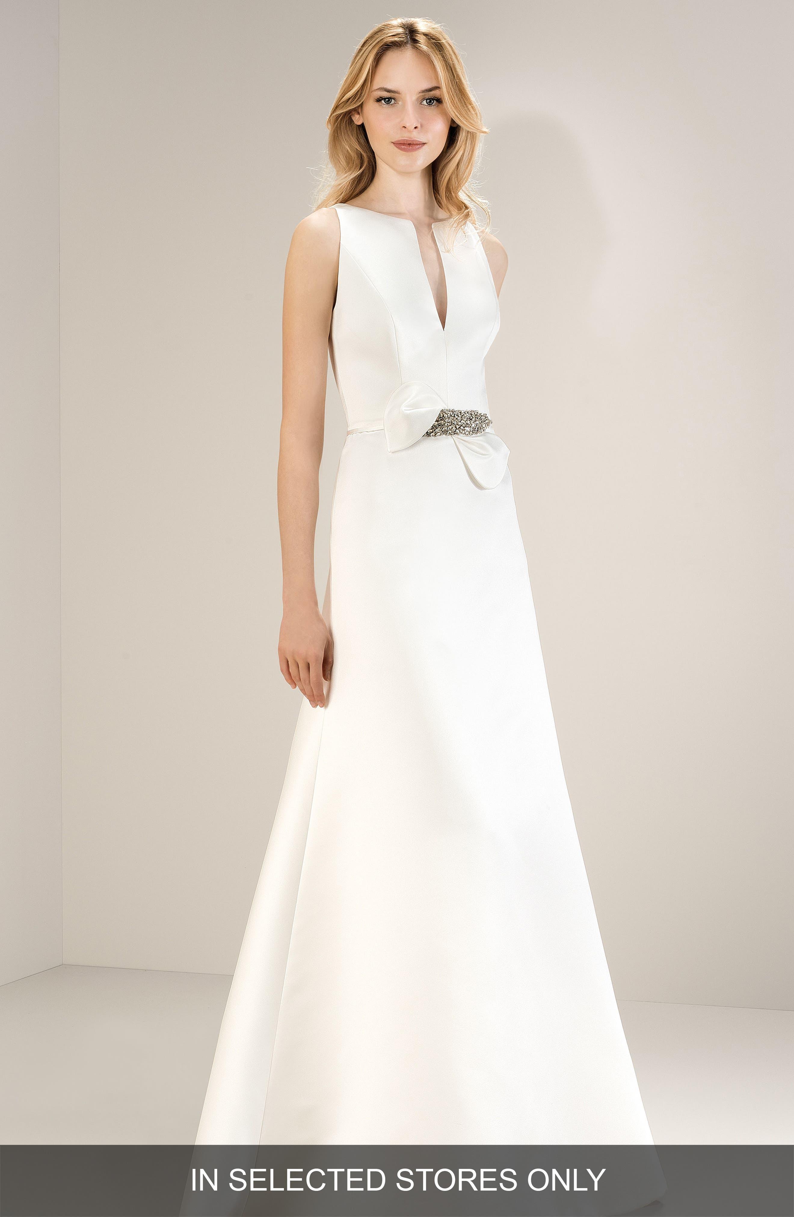Sleeveless Split Neck Satin Gown,                             Main thumbnail 1, color,                             OFF WHITE