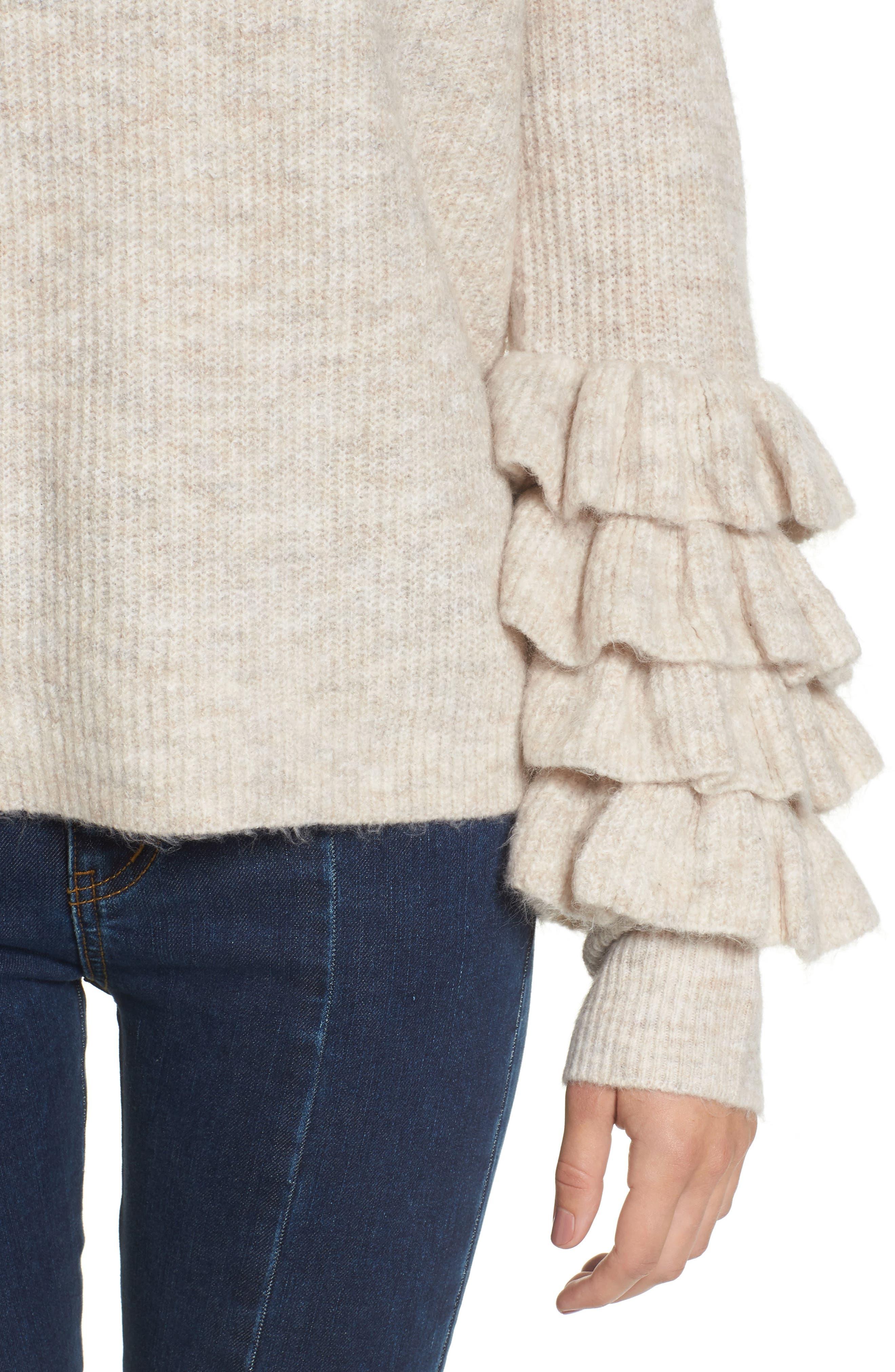 Ruffle Sleeve V-Neck Sweater,                             Alternate thumbnail 7, color,