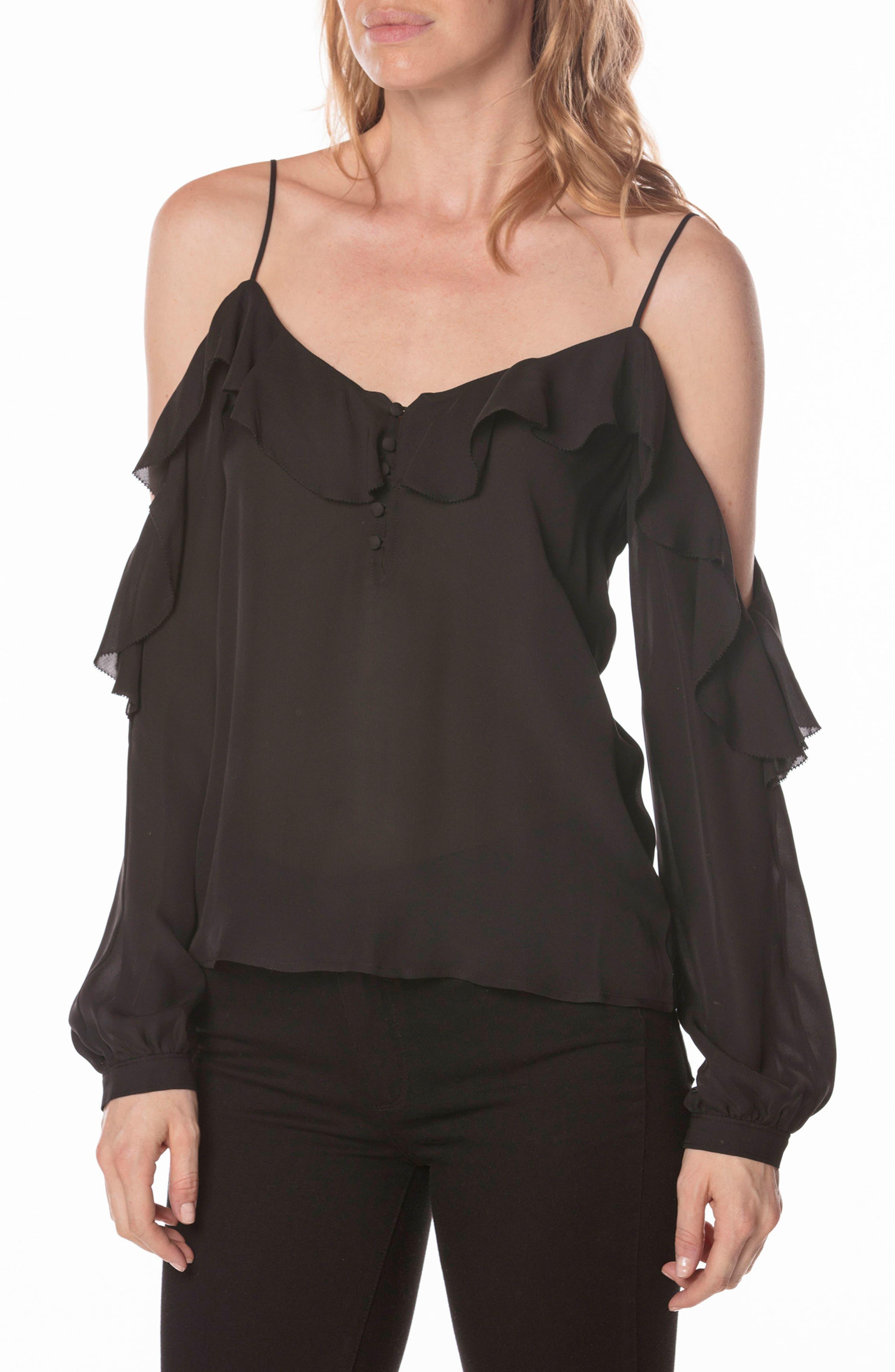 Arabeth Cold Shoulder Silk Blouse,                         Main,                         color, 001