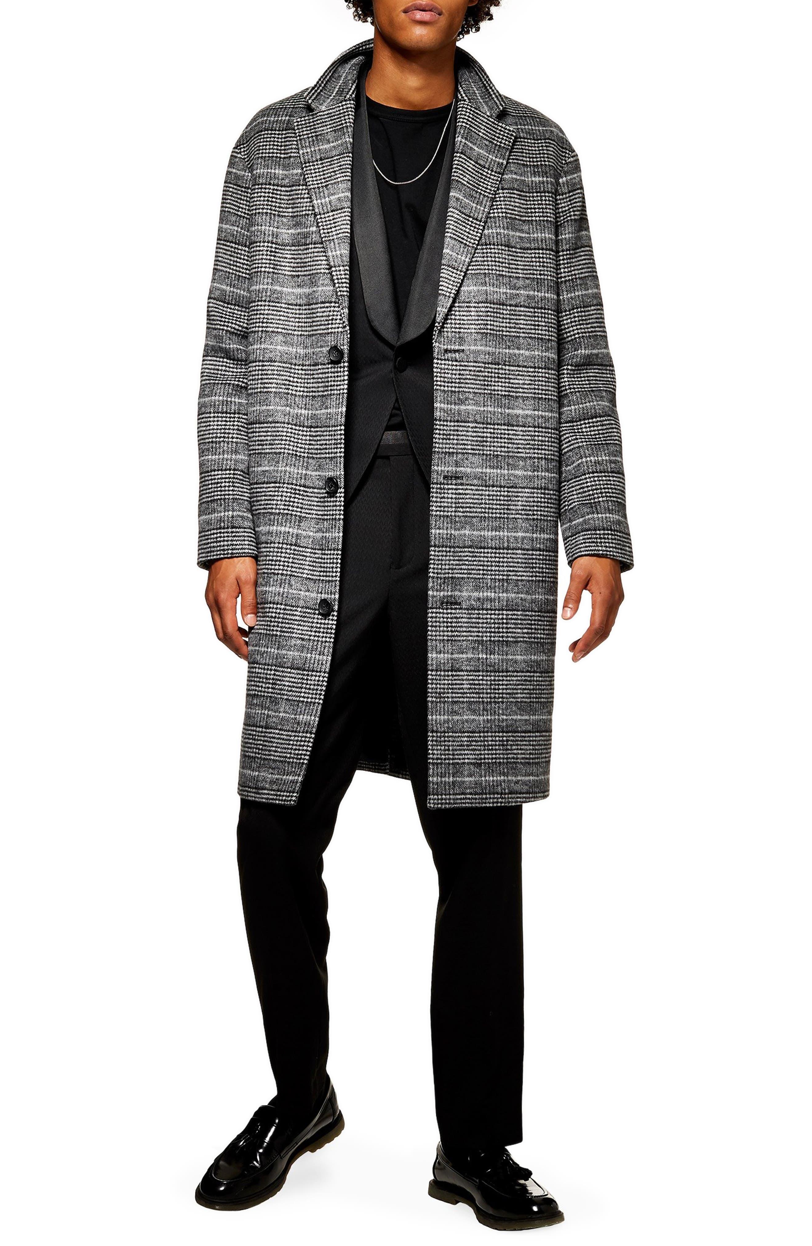 TOPMAN Hayden Check Print Overcoat, Main, color, 020