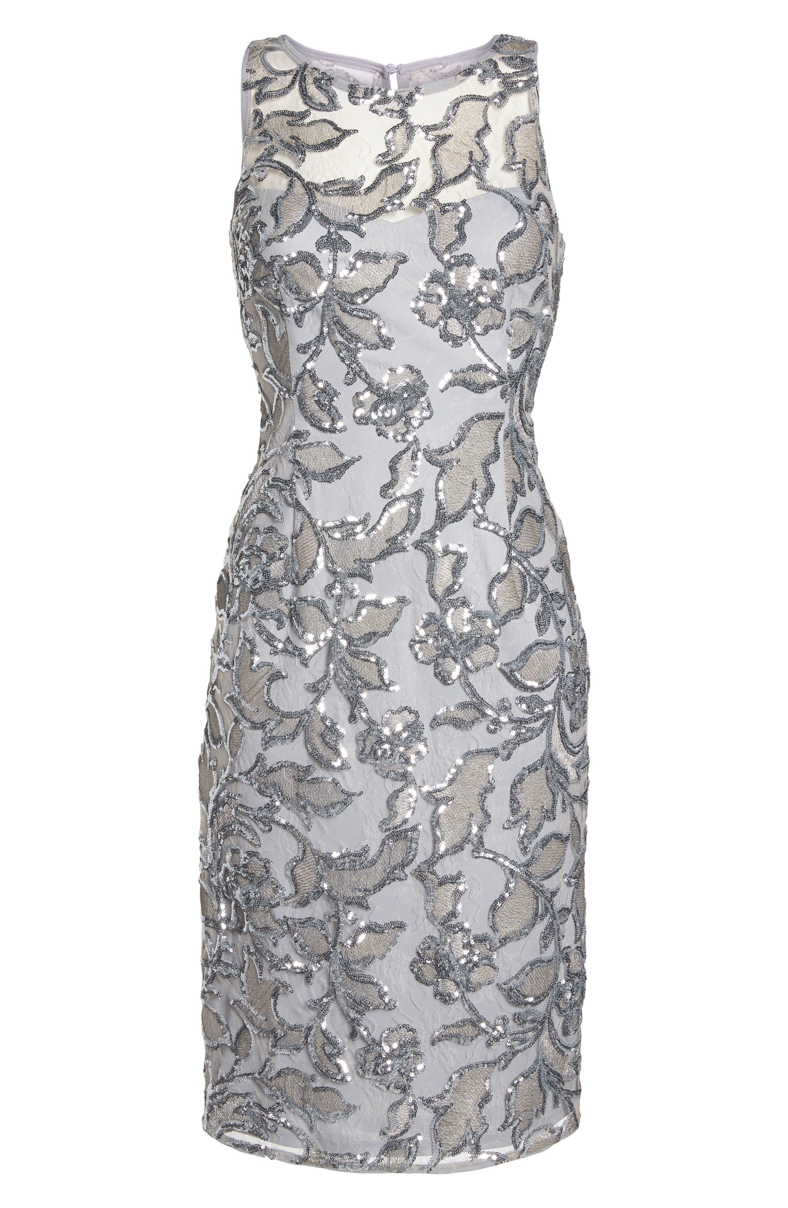 Floral Sequin Sheath Dress,                             Alternate thumbnail 7, color,                             SILVER