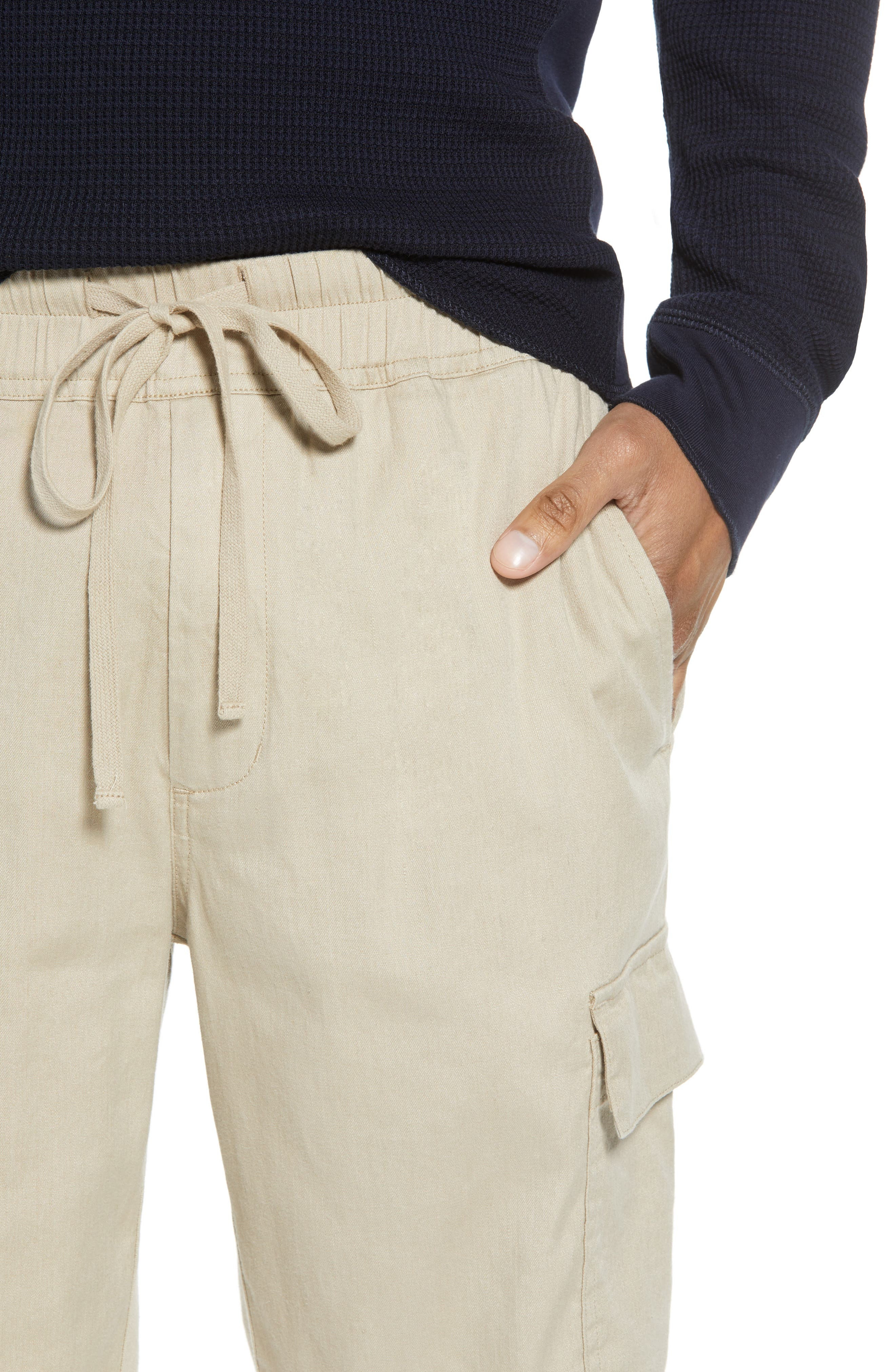 Stretch Linen & Cotton Cargo Shorts,                             Alternate thumbnail 4, color,                             FLAX