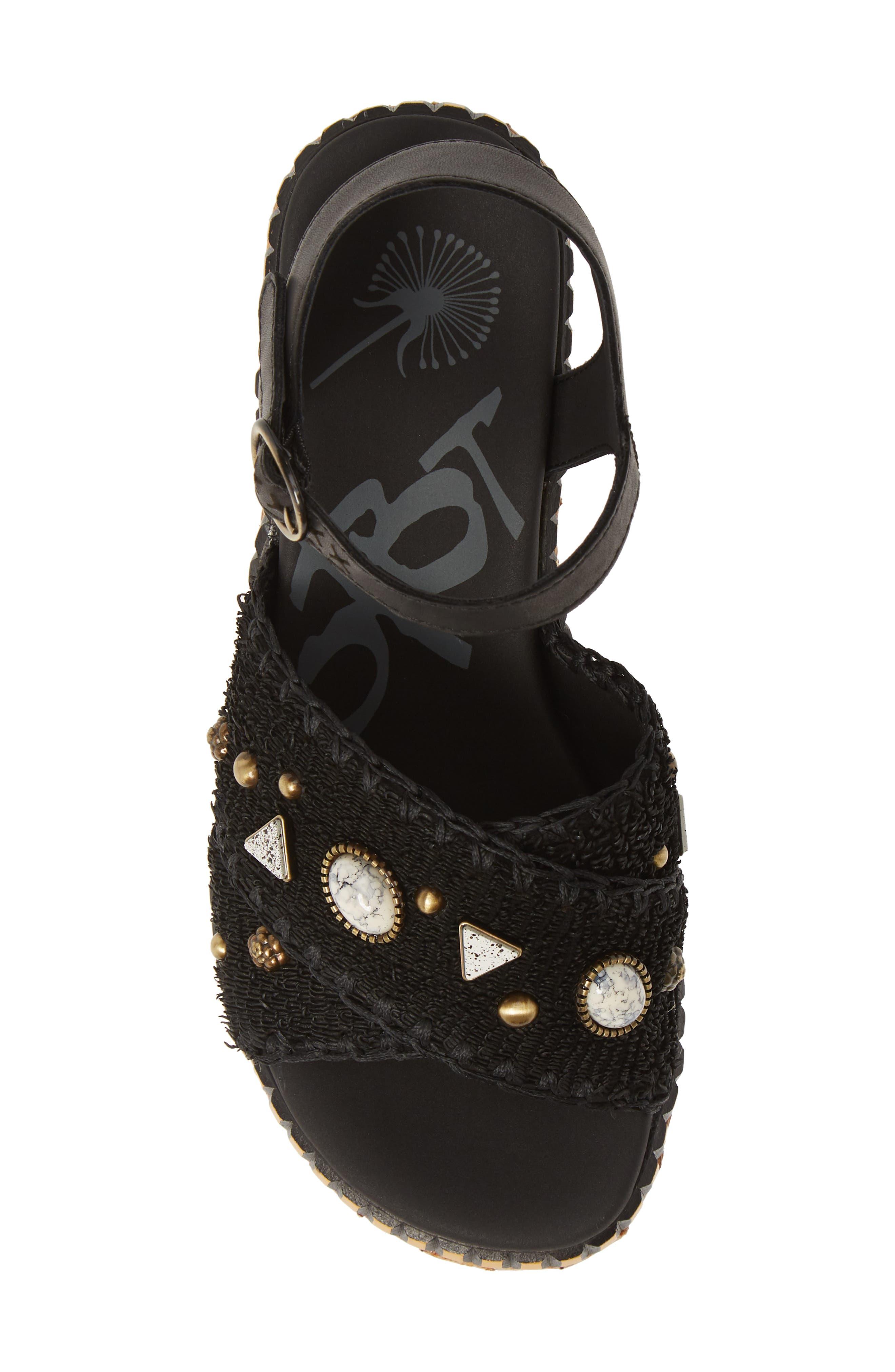 Cahoot Embellished Platform Wedge Sandal,                             Alternate thumbnail 5, color,                             BLACK LEATHER