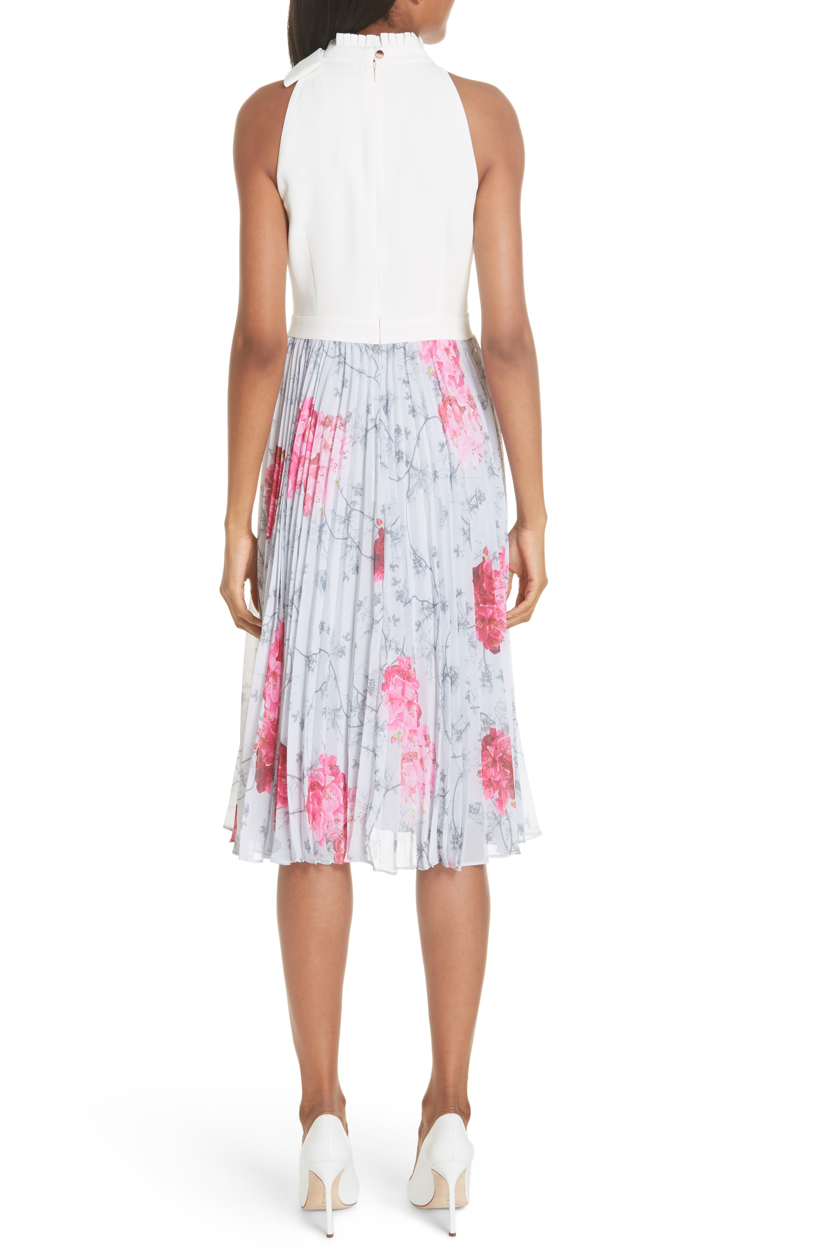 Babylon Pleat A-Line Dress,                             Alternate thumbnail 2, color,                             GREY