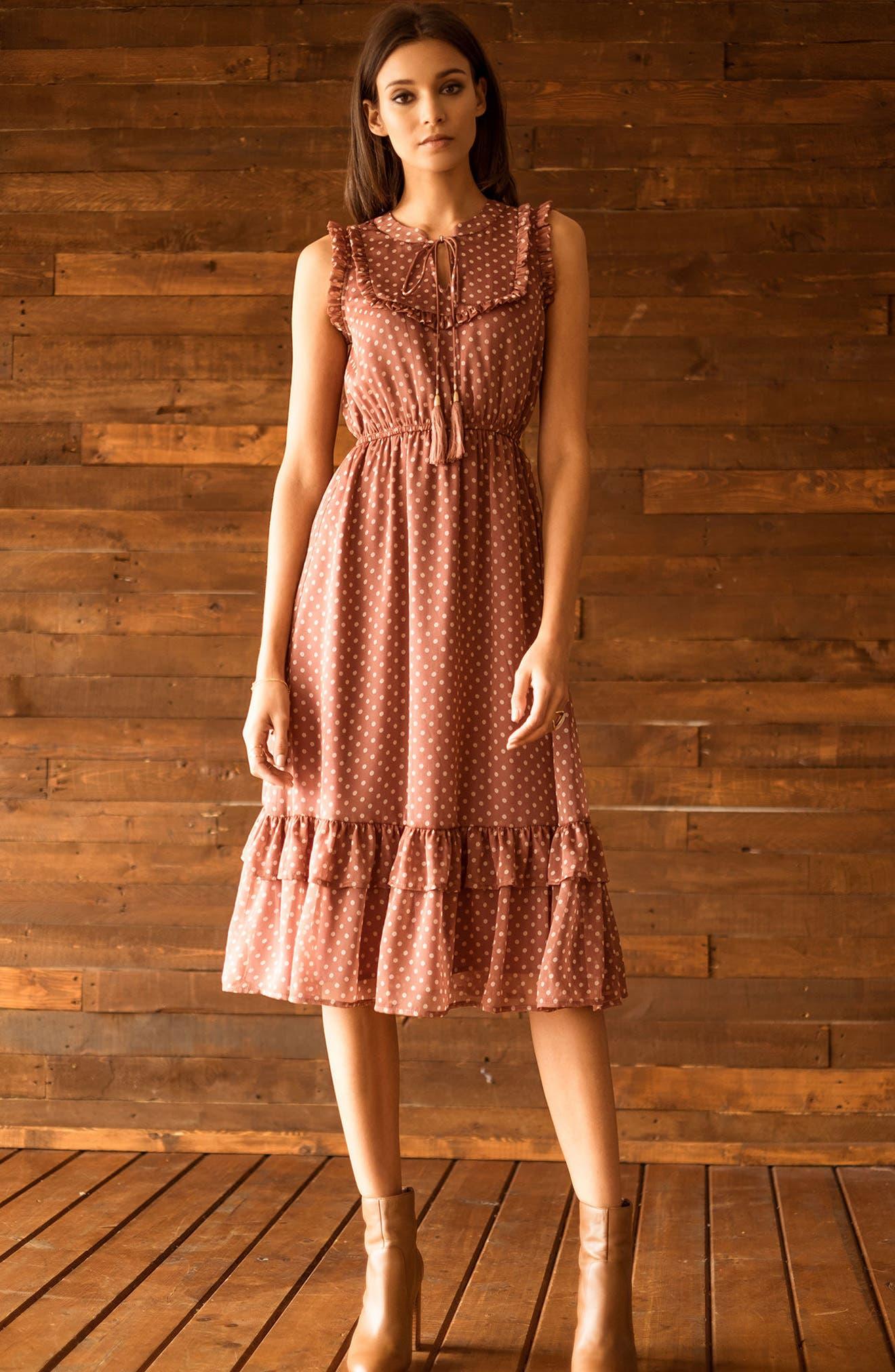 Ruffle Midi Dress,                             Alternate thumbnail 8, color,