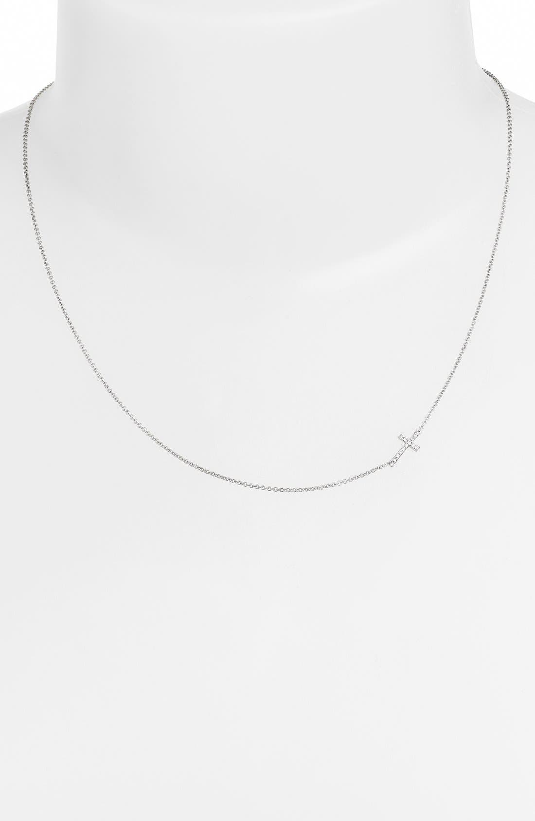 Reversible Diamond Cross Pendant Necklace,                             Alternate thumbnail 3, color,                             WHITE GOLD