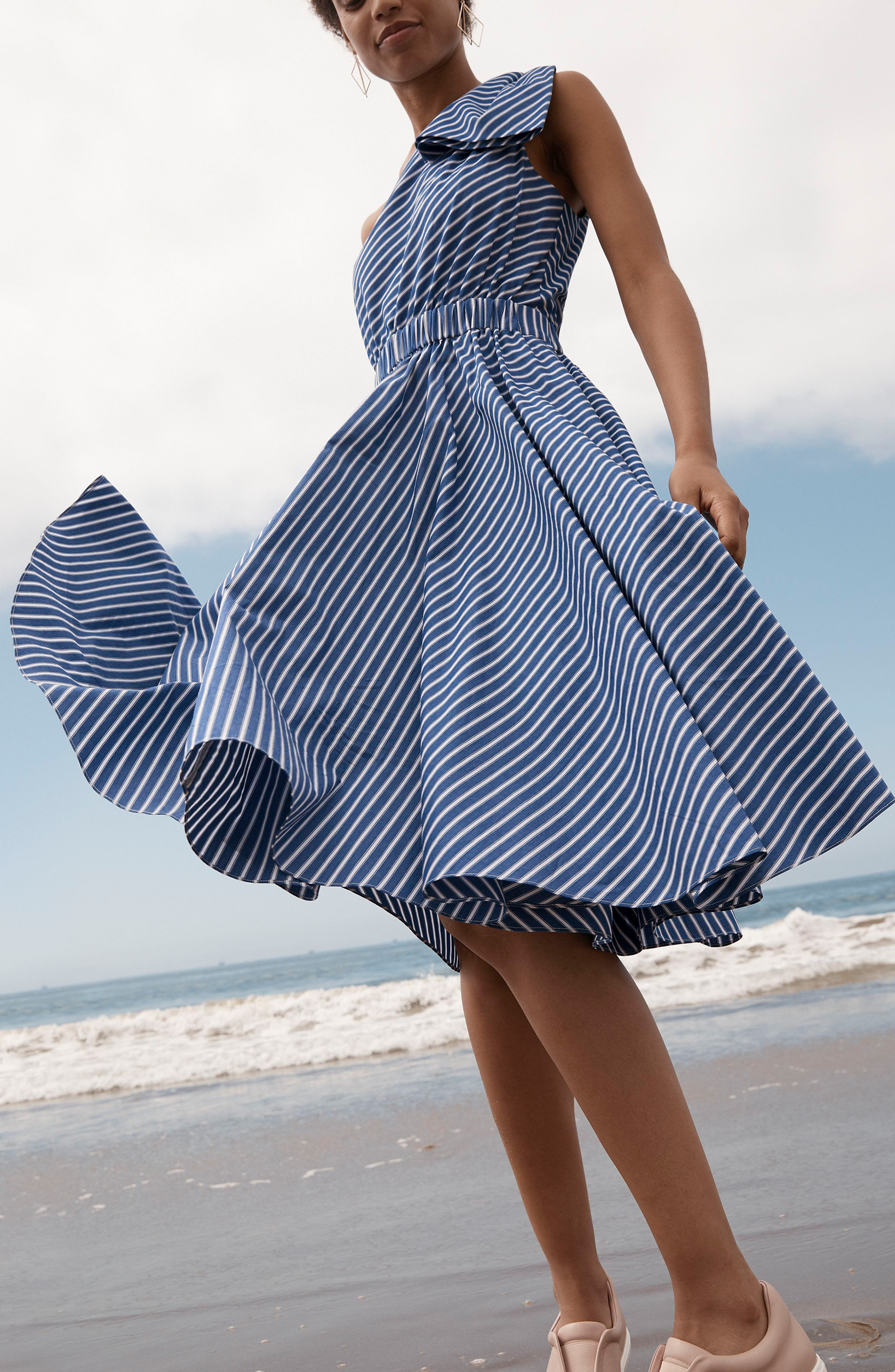 One-Shoulder Fit & Flare Dress,                             Alternate thumbnail 7, color,