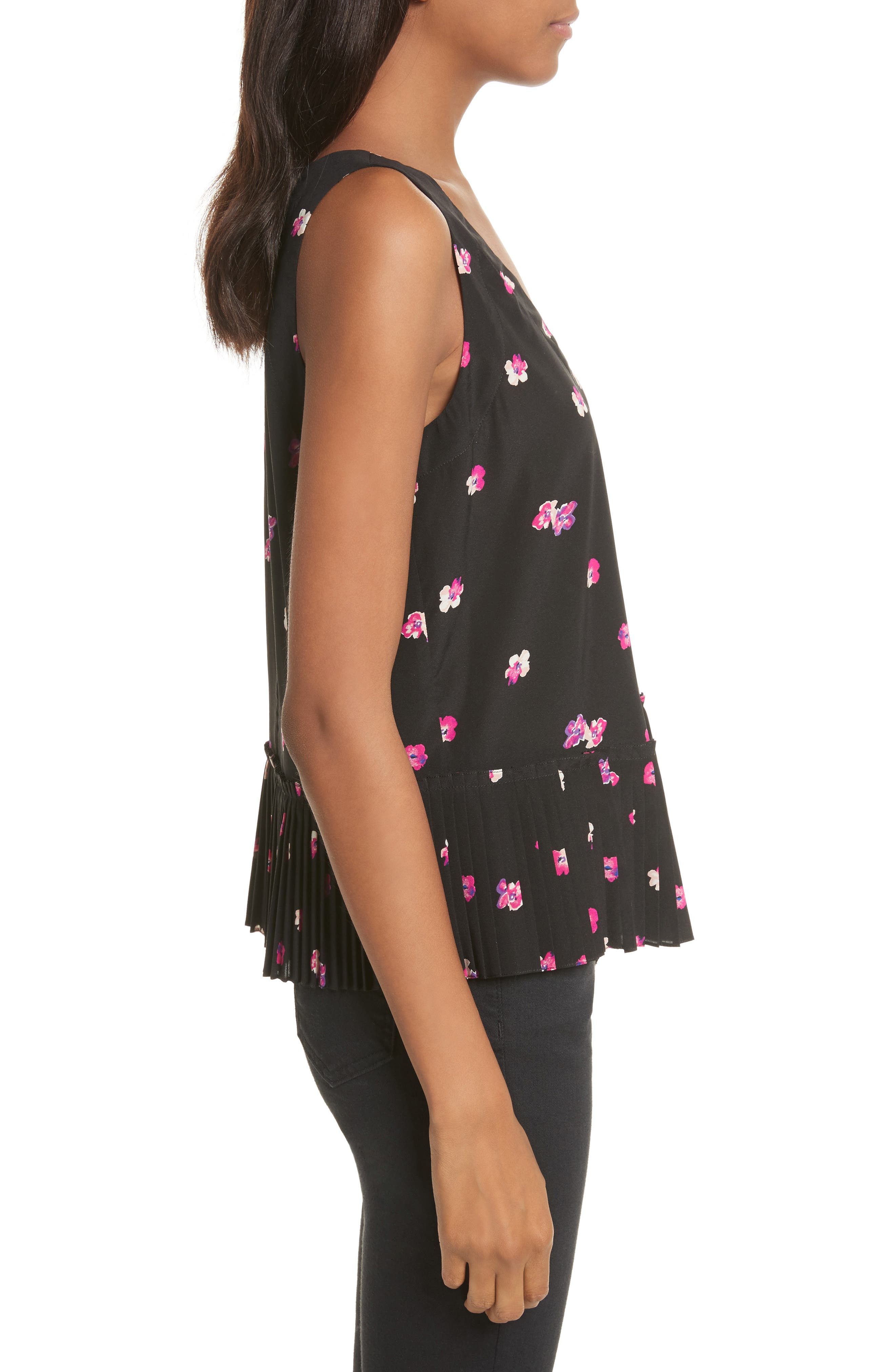 Floriana Floral Stretch Silk Tank,                             Alternate thumbnail 3, color,                             014