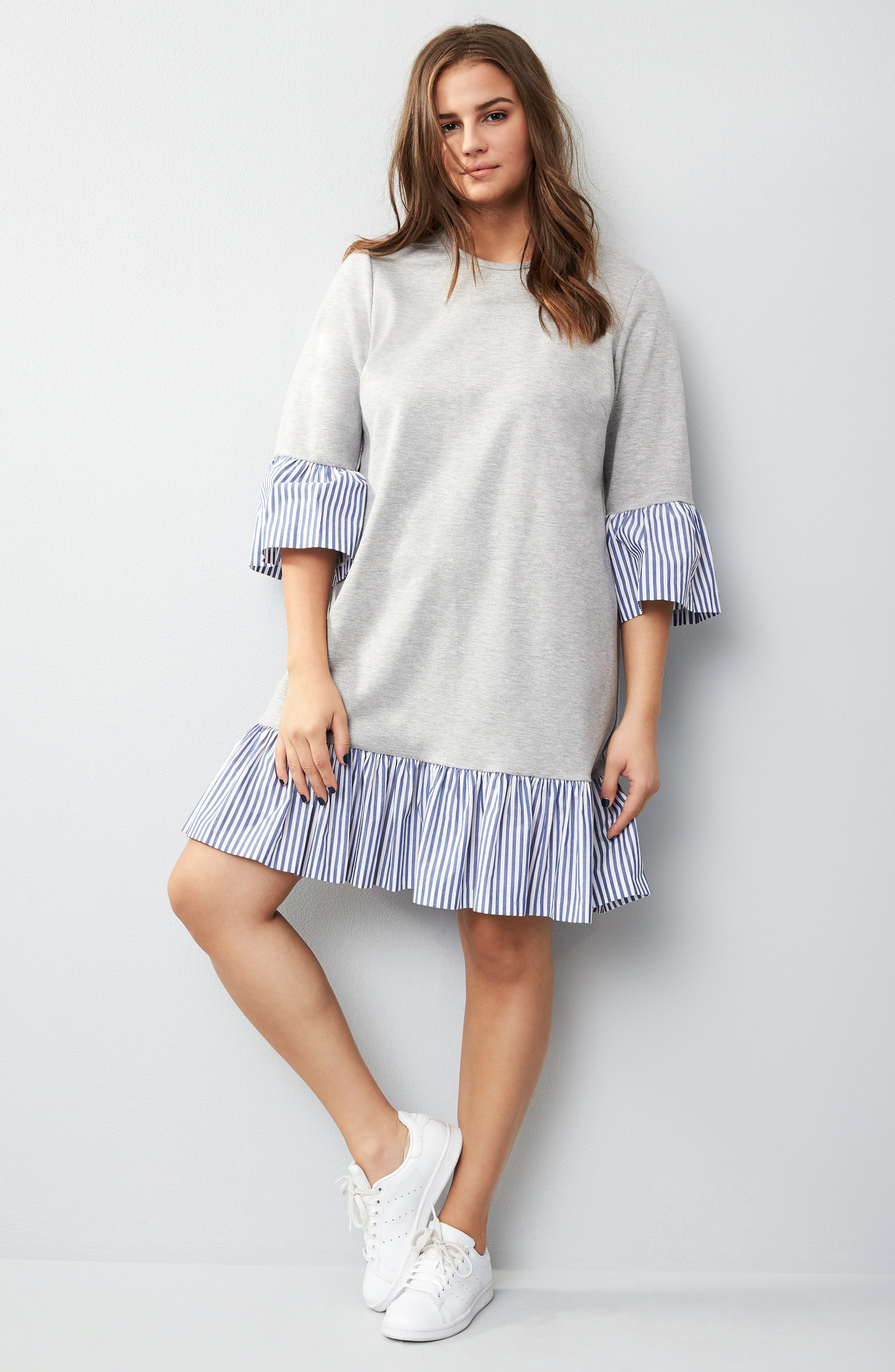 Flounce Hem Sweatshirt Dress,                             Alternate thumbnail 7, color,                             030