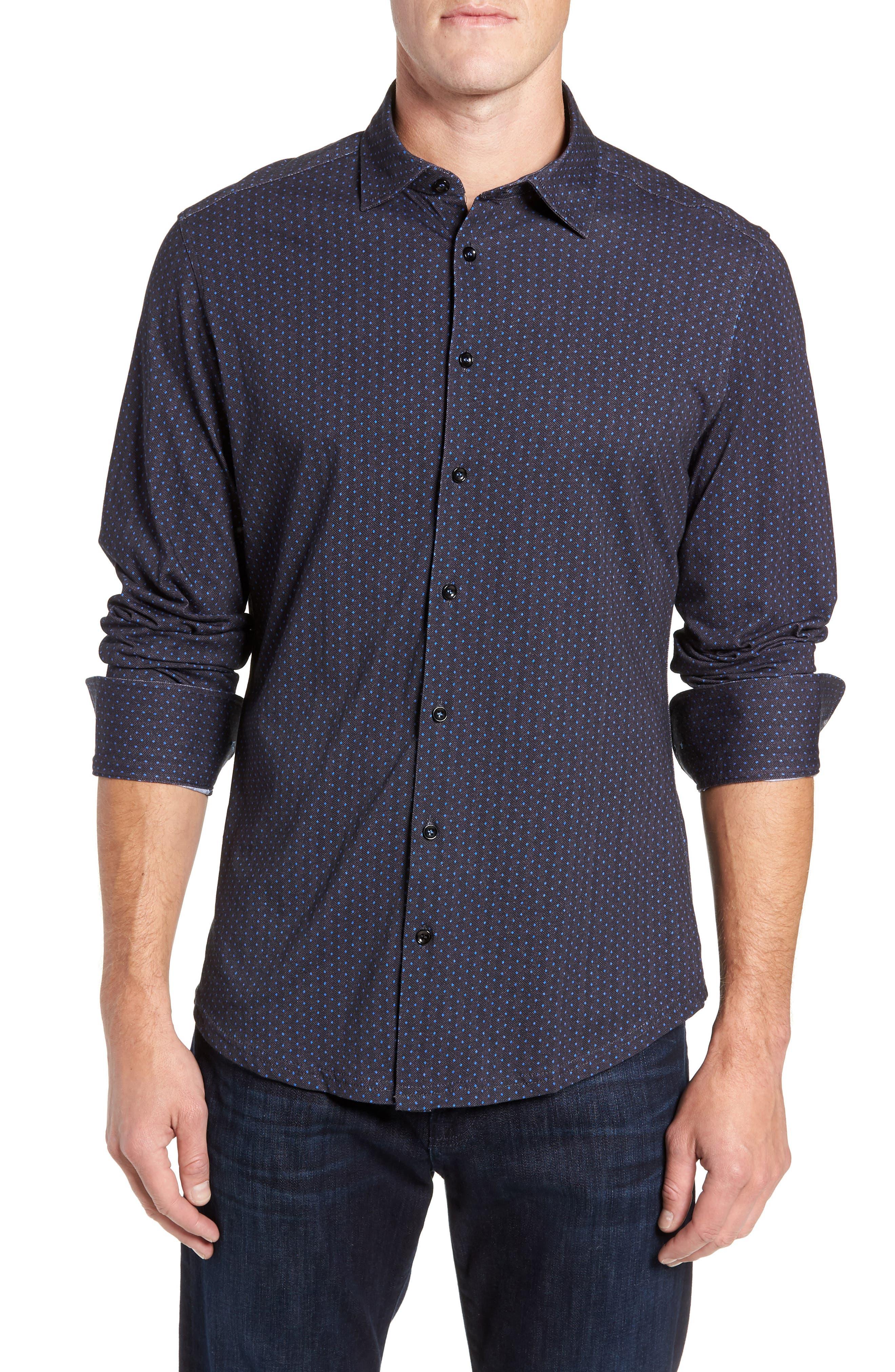 Regular Fit Knit Sport Shirt,                             Main thumbnail 1, color,                             BLACK