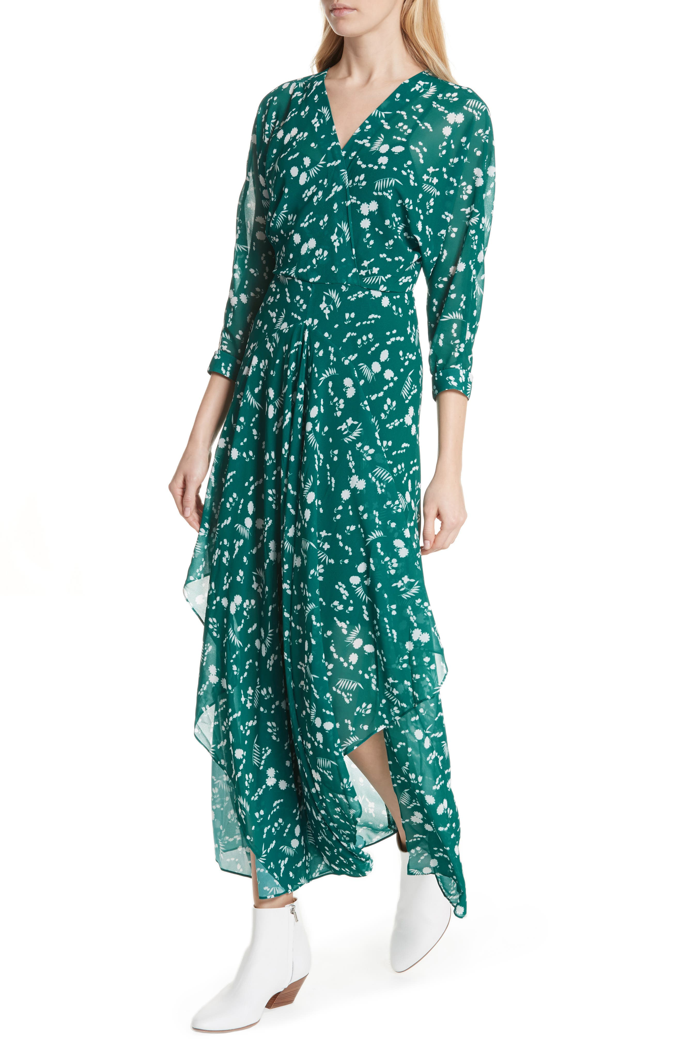 Floral Print Maxi Dress,                             Alternate thumbnail 4, color,