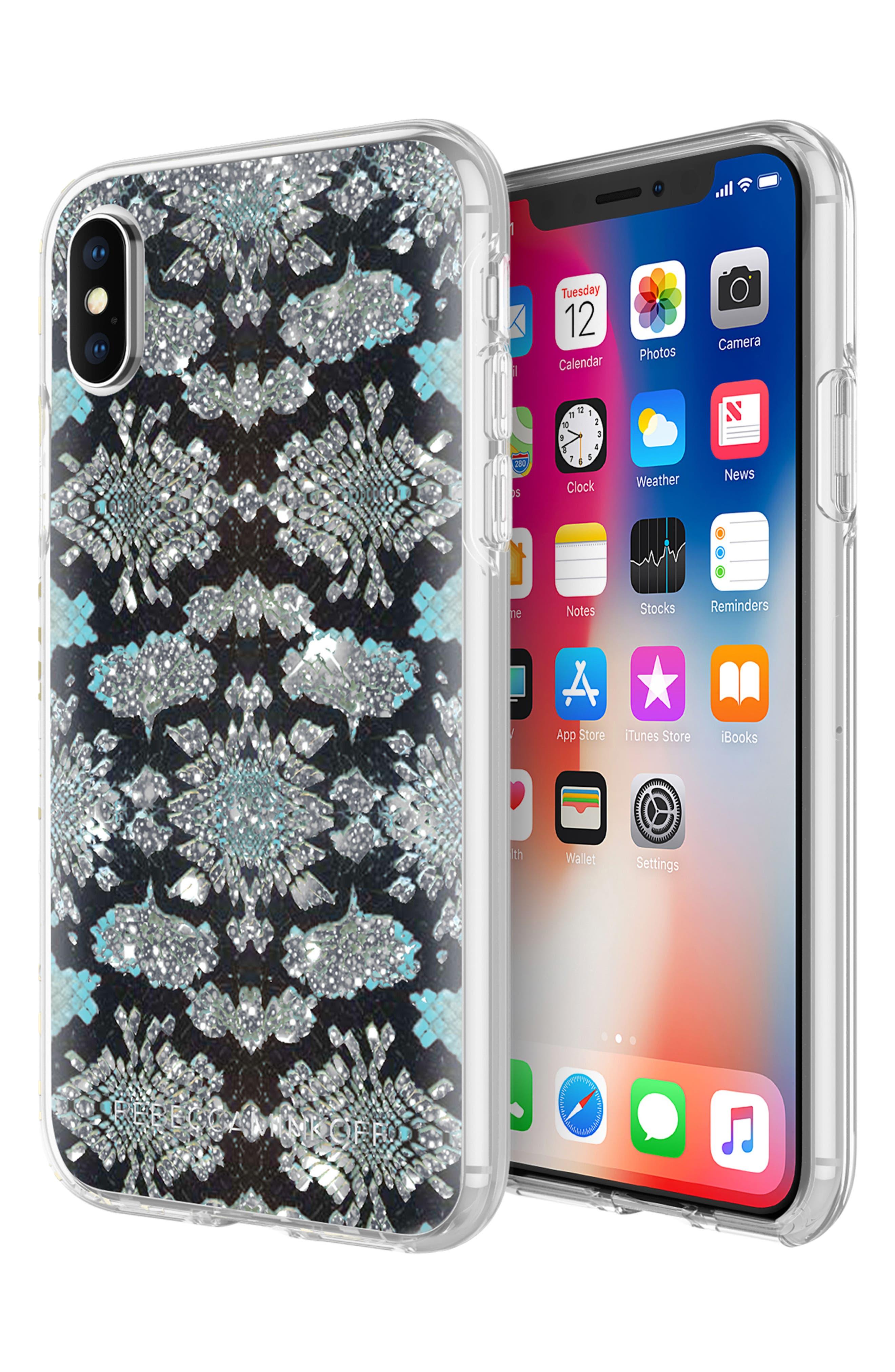 Glitter Snake Print iPhone X Case,                             Alternate thumbnail 5, color,                             001