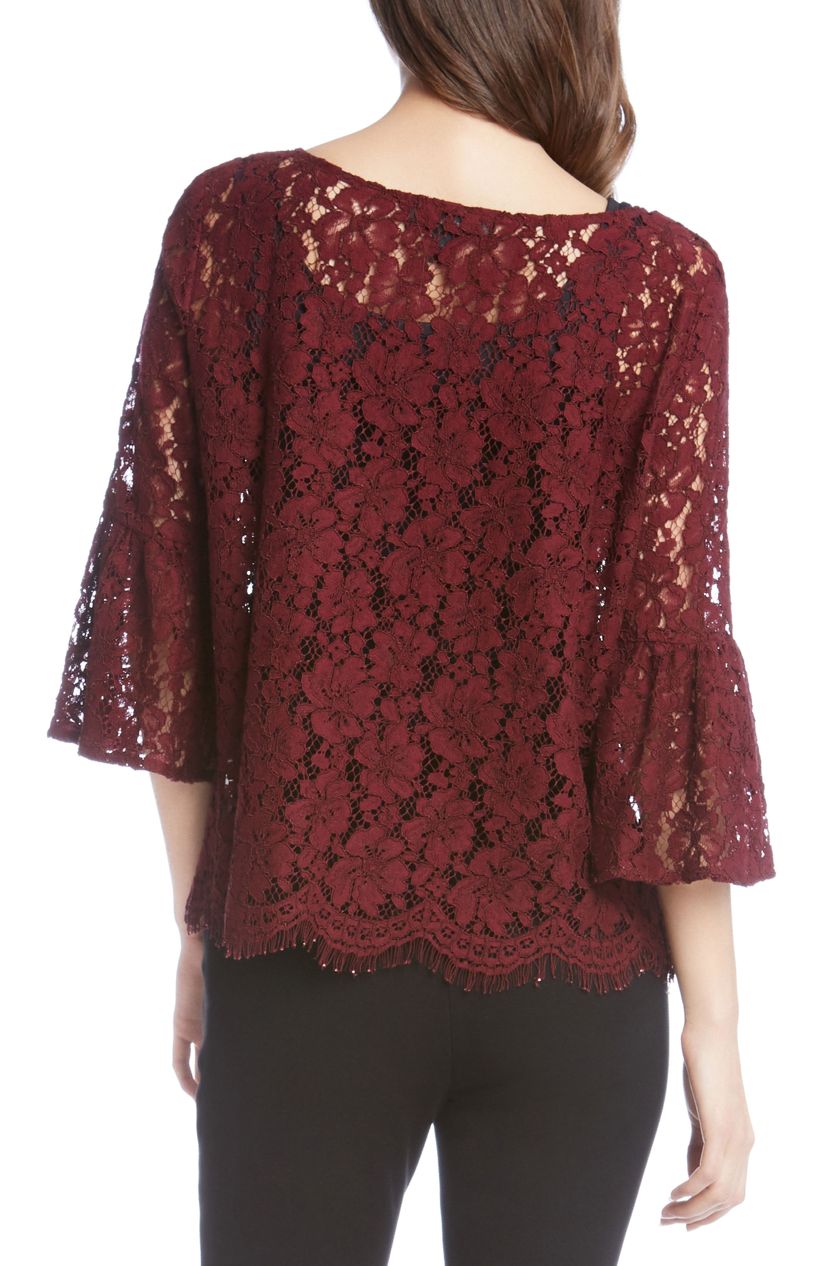 Lace Embellished Bell Sleeve Top,                             Alternate thumbnail 4, color,
