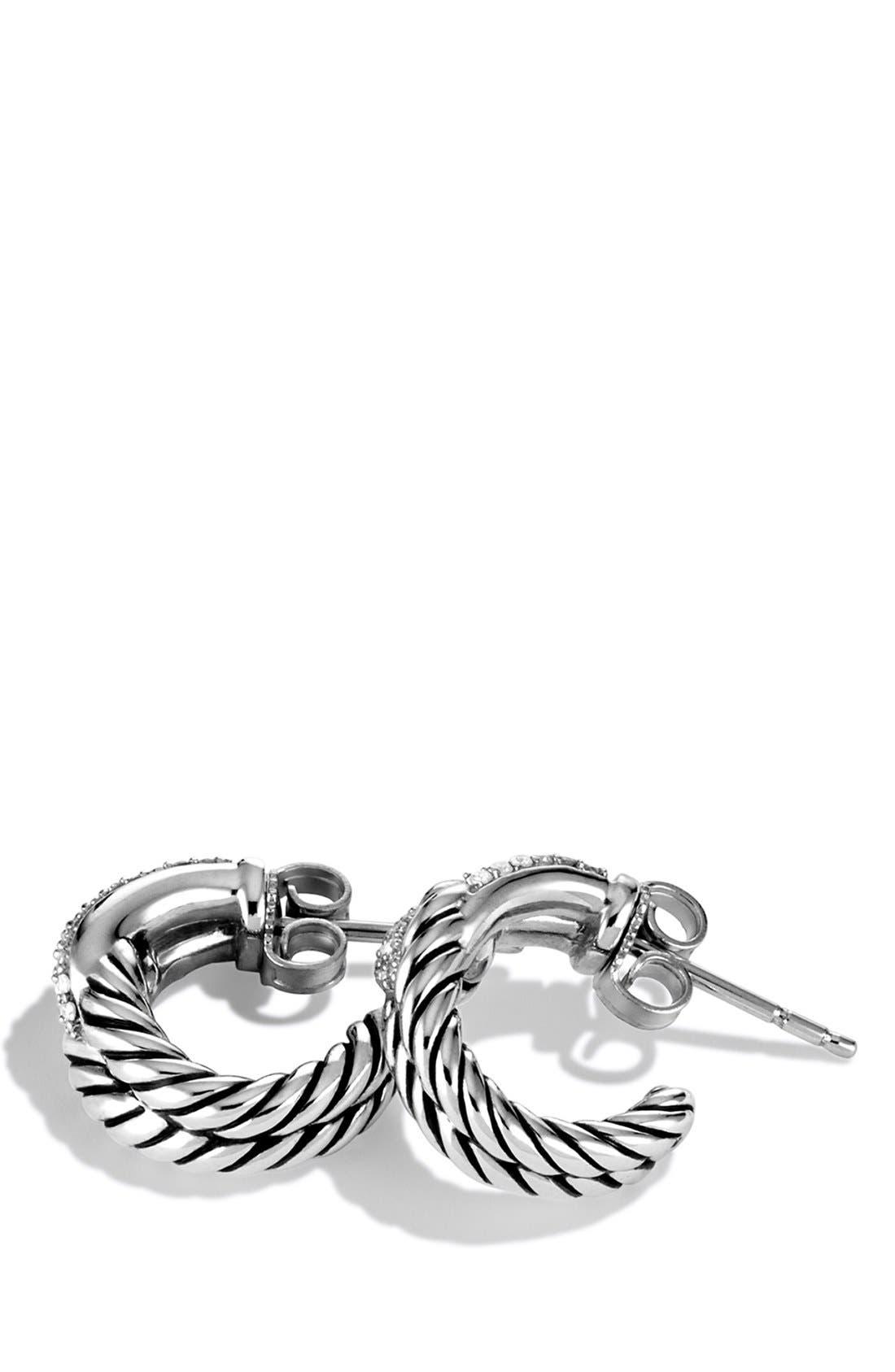 'Labyrinth' Single Loop Earrings with Diamonds,                             Alternate thumbnail 3, color,                             DIAMOND