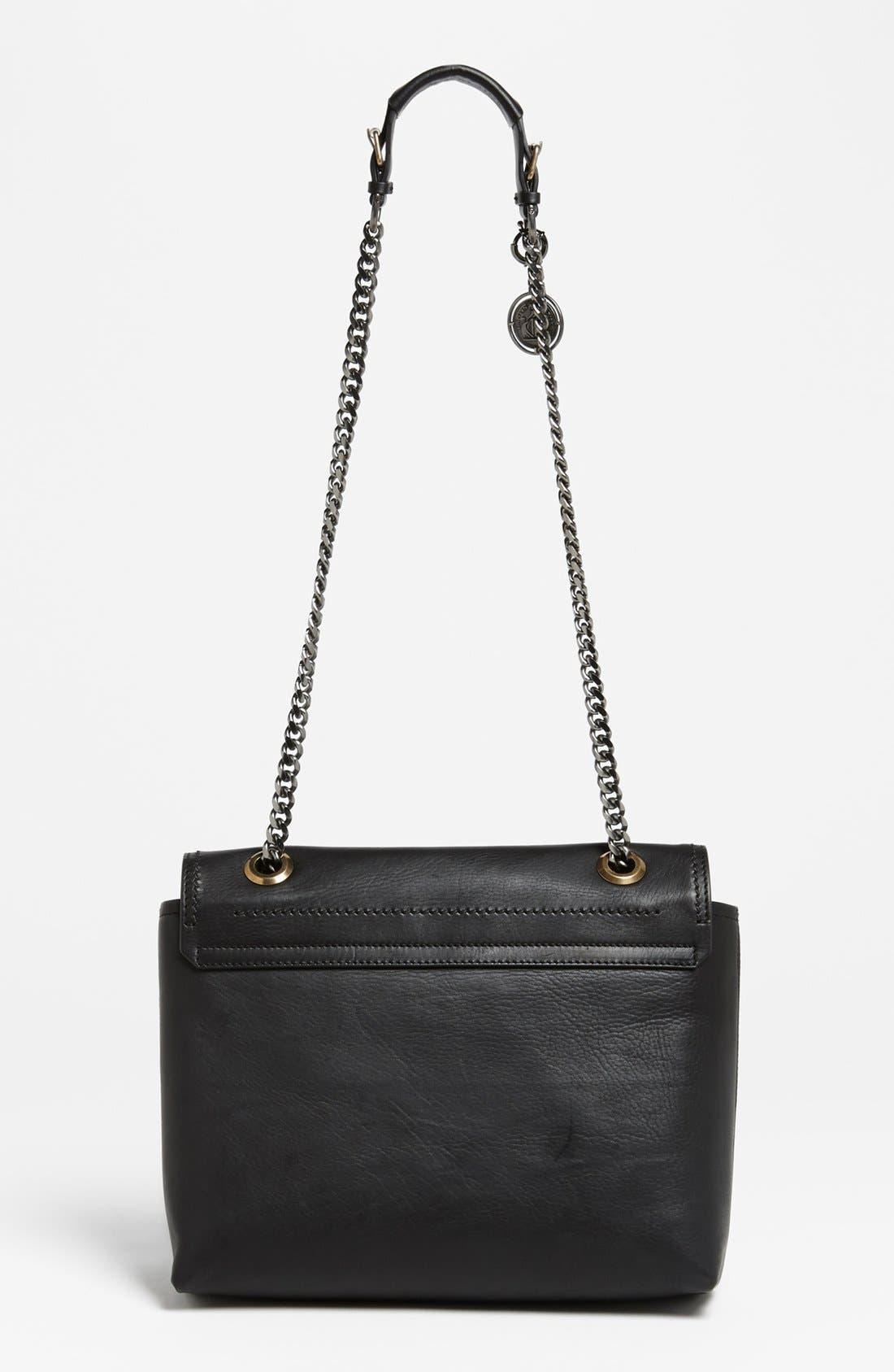LANVIN,                             'Happy - Medium' Leather Flap Shoulder Bag,                             Alternate thumbnail 4, color,                             001