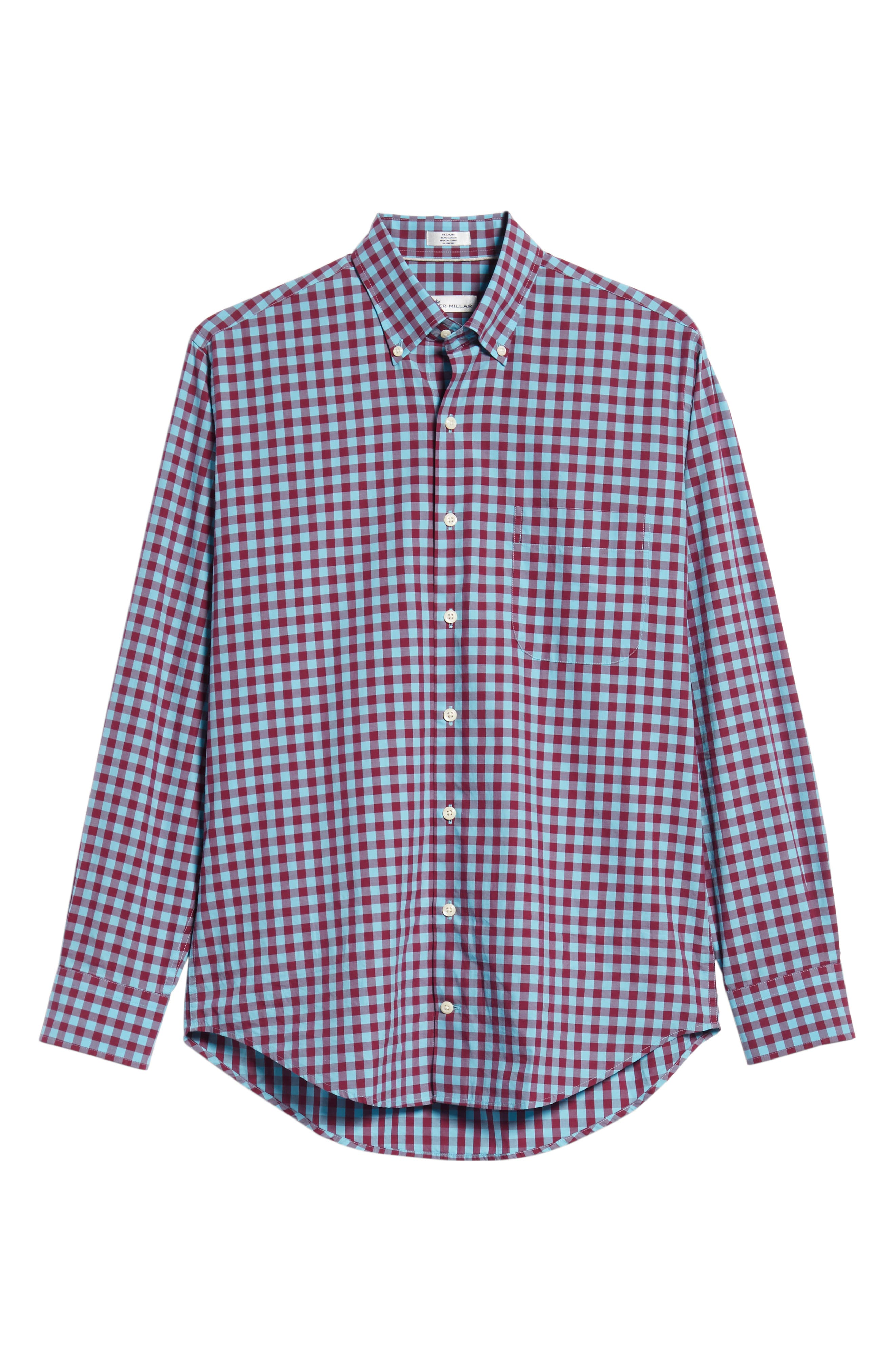 Mont Blanc Gingham Check Sport Shirt,                             Alternate thumbnail 5, color,                             GROTTO BLUE