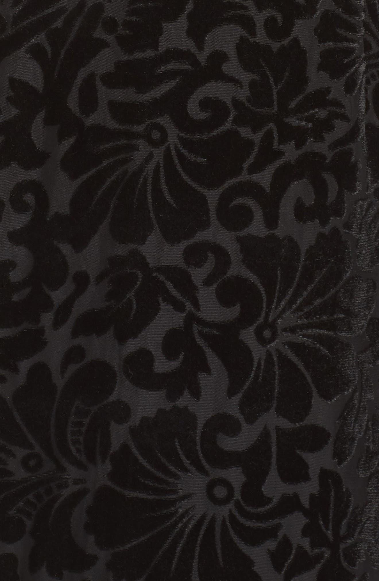 Burnout Velvet Sheath Dress,                             Alternate thumbnail 6, color,                             BLACK