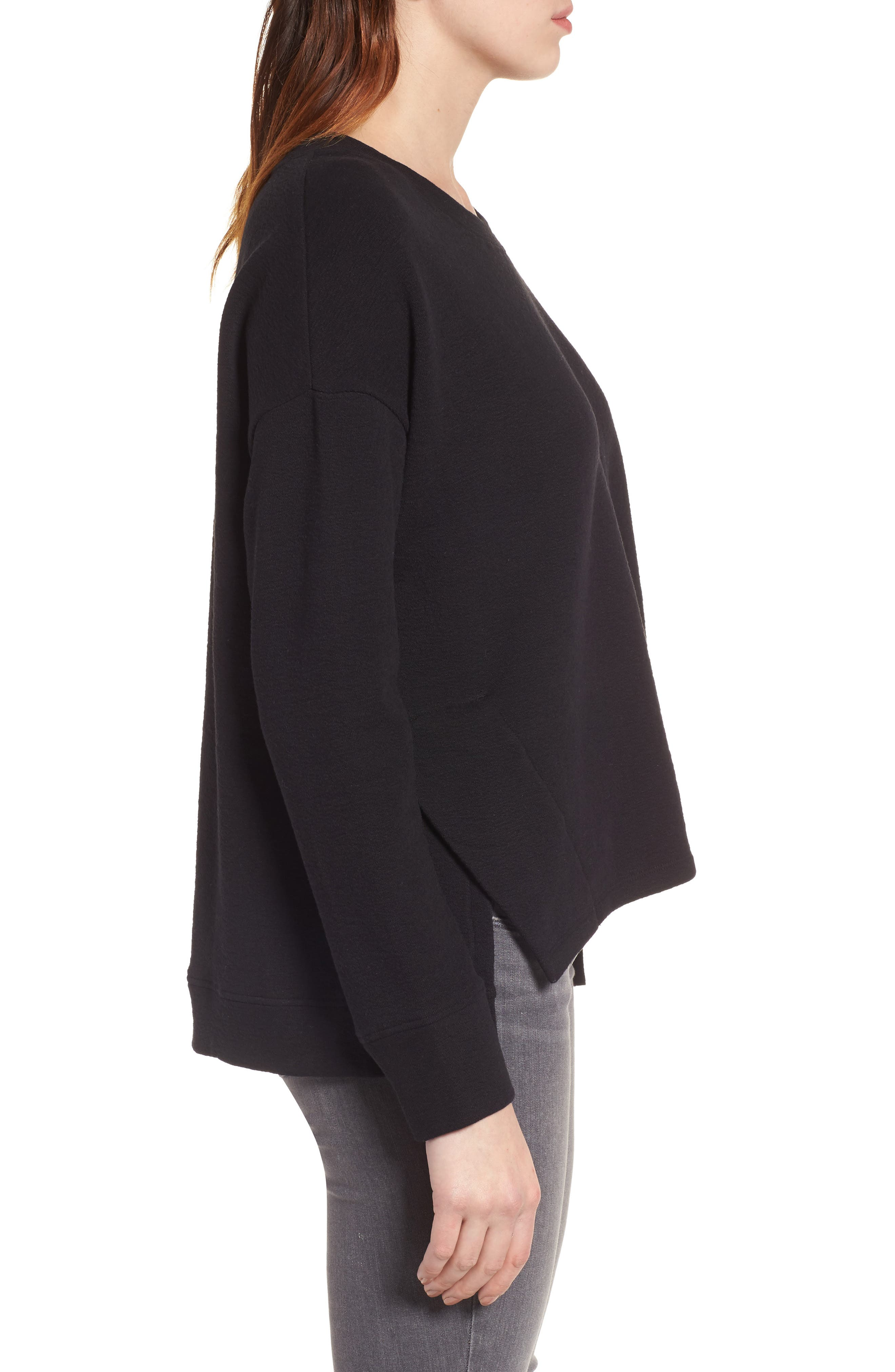 CASLON<SUP>®</SUP>,                             Side Slit Relaxed Sweatshirt,                             Alternate thumbnail 3, color,                             BLACK