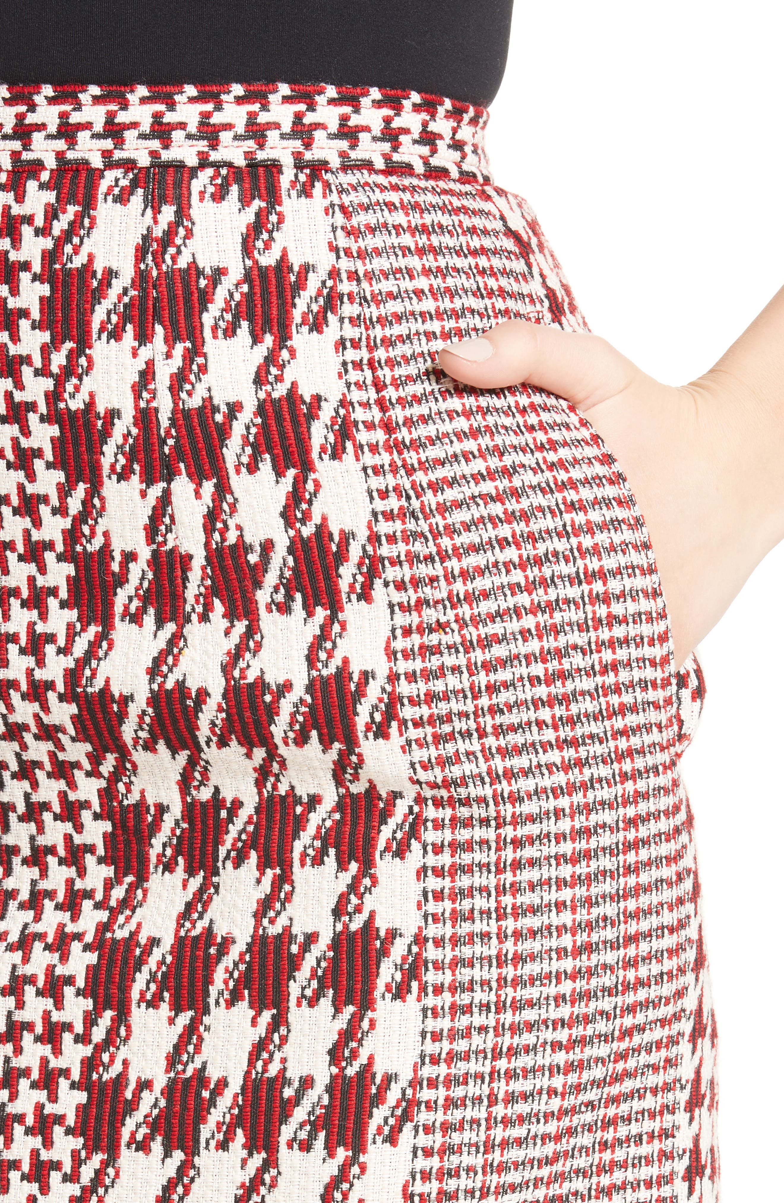 Houndstooth Pencil Skirt,                             Alternate thumbnail 7, color,