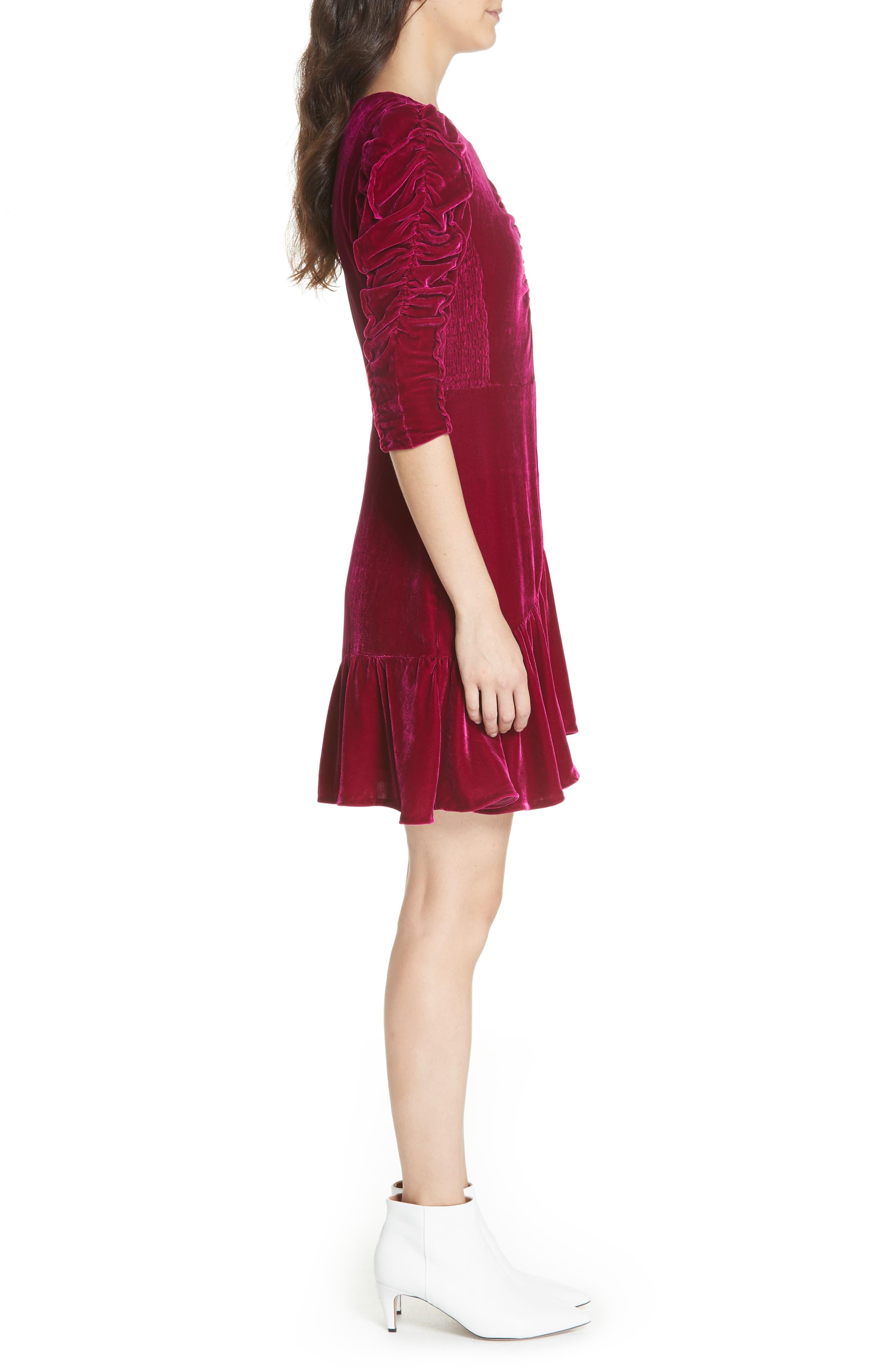 Ruched Velvet Dress,                             Alternate thumbnail 3, color,                             CRANBERRY