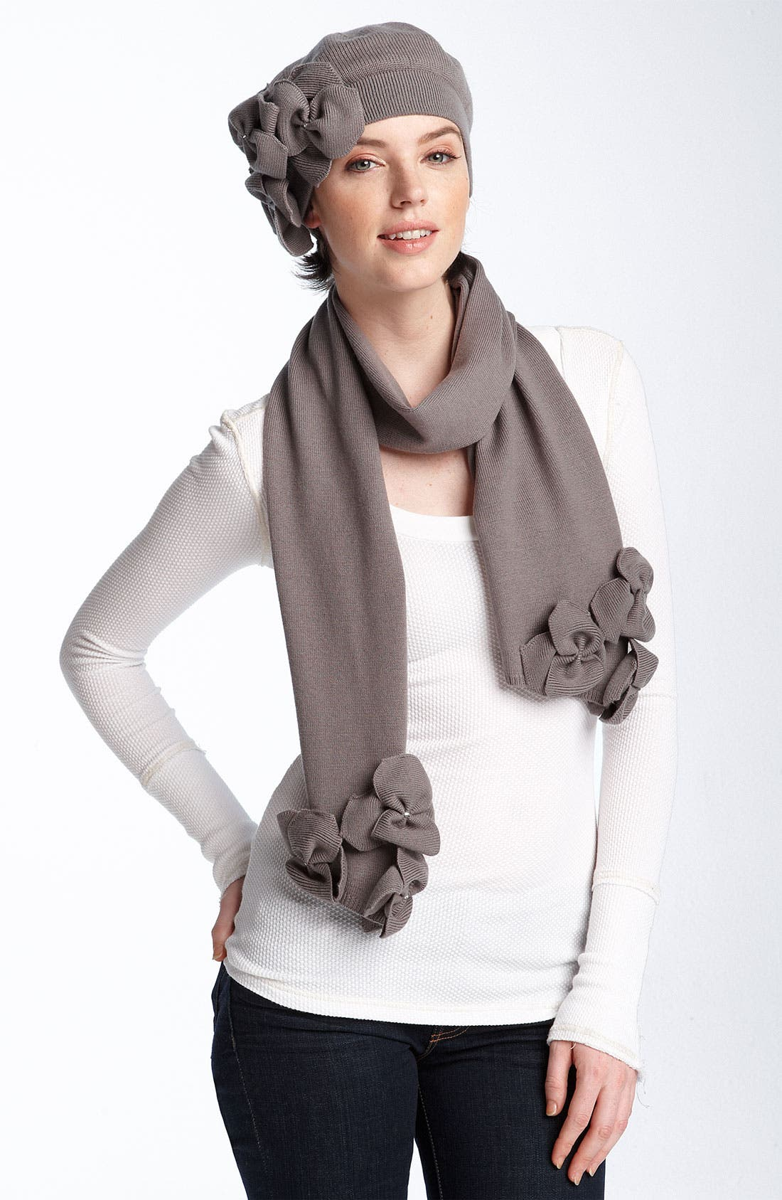 Knit Flower Wool Scarf,                             Alternate thumbnail 2, color,                             001