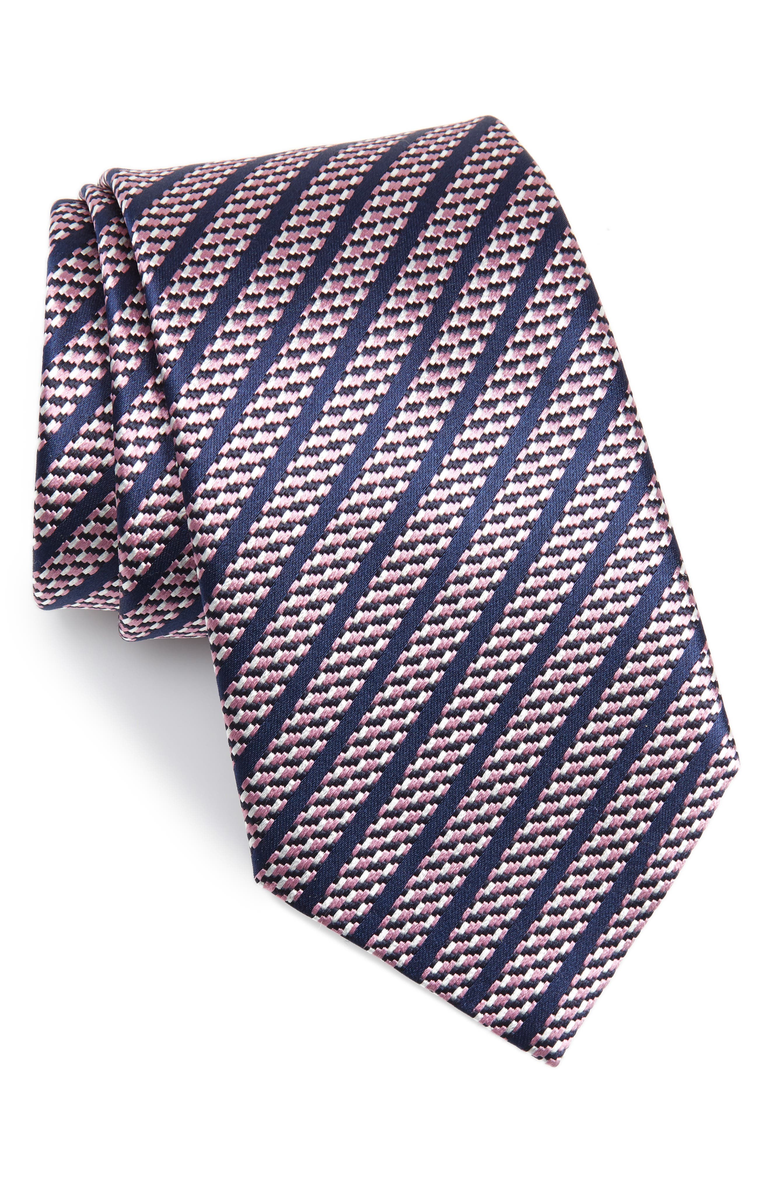 Stripe Silk Tie,                             Main thumbnail 1, color,                             PINK