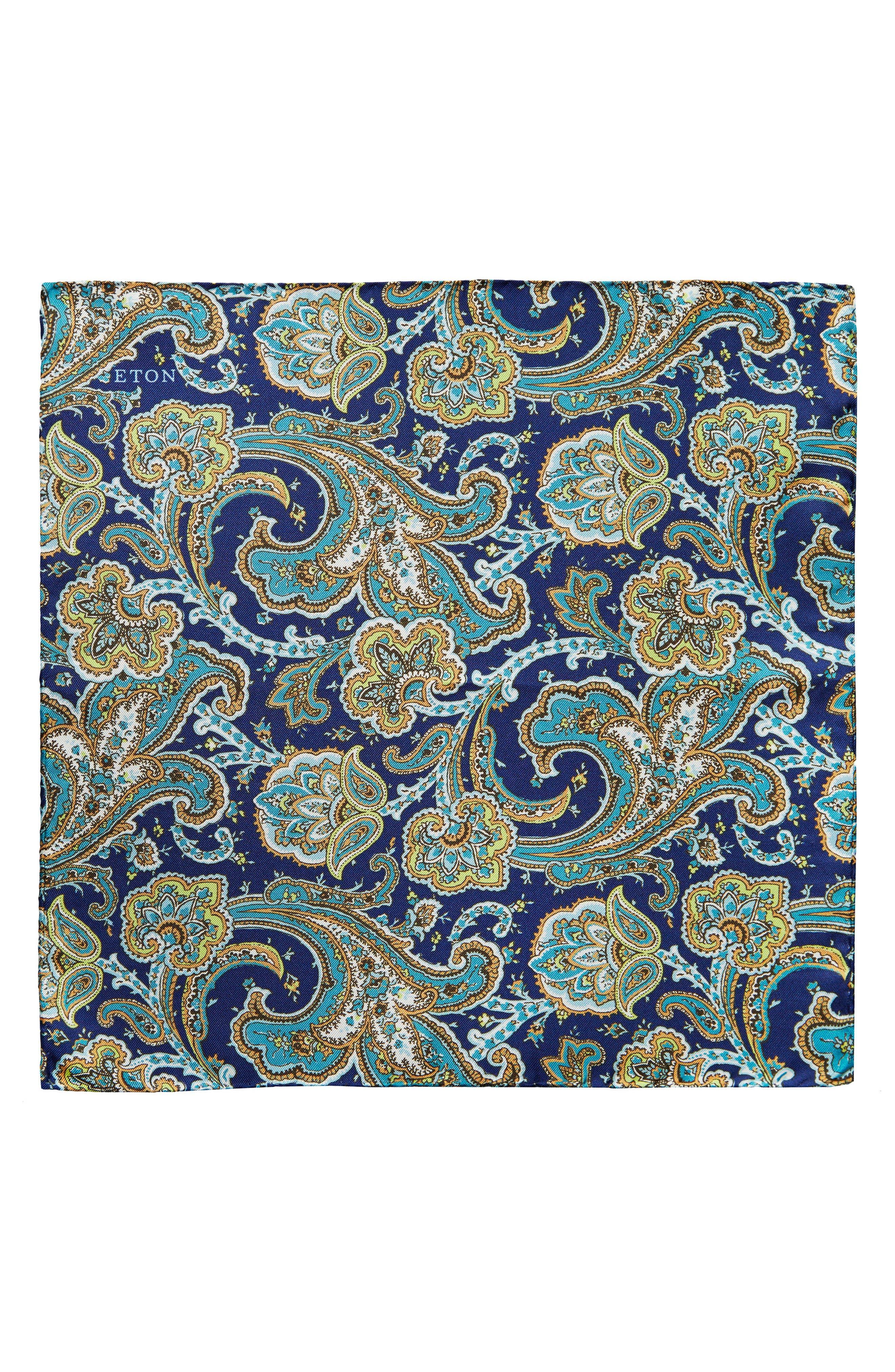 Paisley Silk Pocket Square,                             Alternate thumbnail 2, color,                             NAVY
