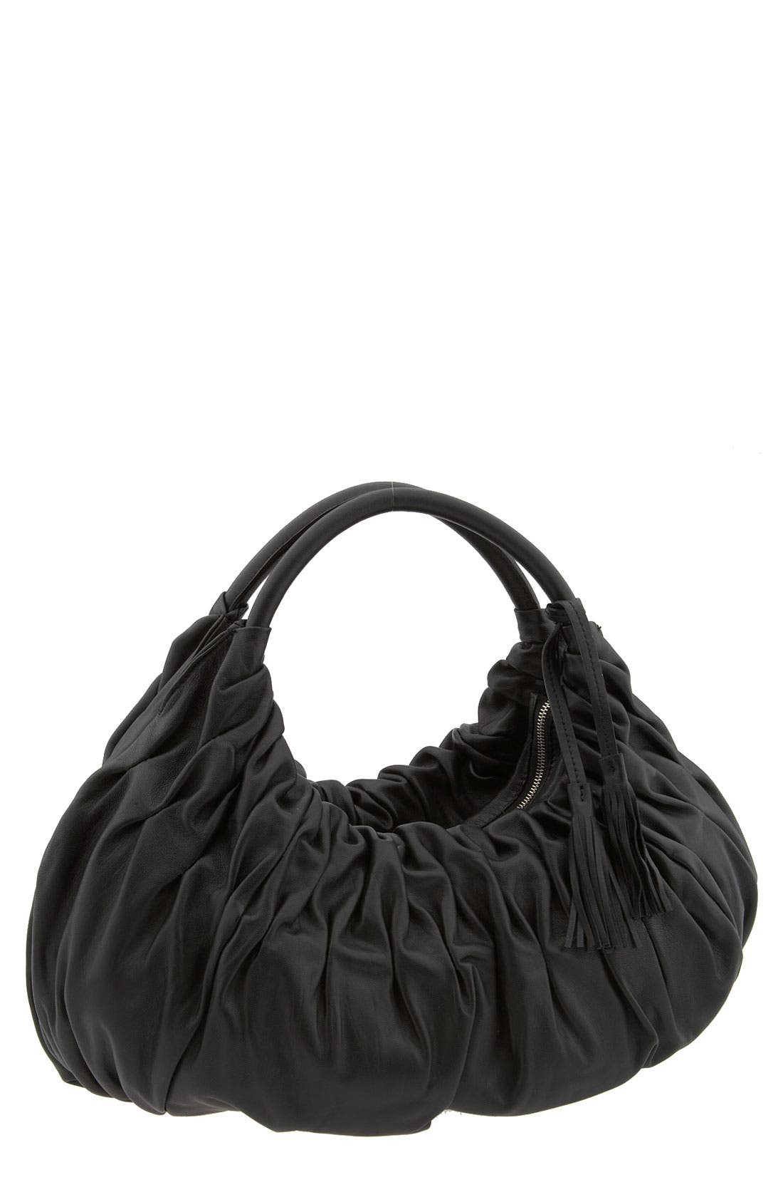 Pleated Satchel,                         Main,                         color, 001