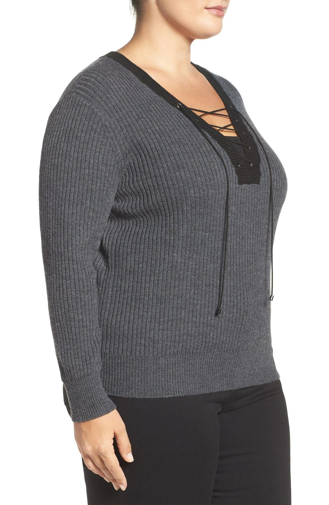 Amity Lace-Up Merino Sweater,                             Alternate thumbnail 4, color,                             027