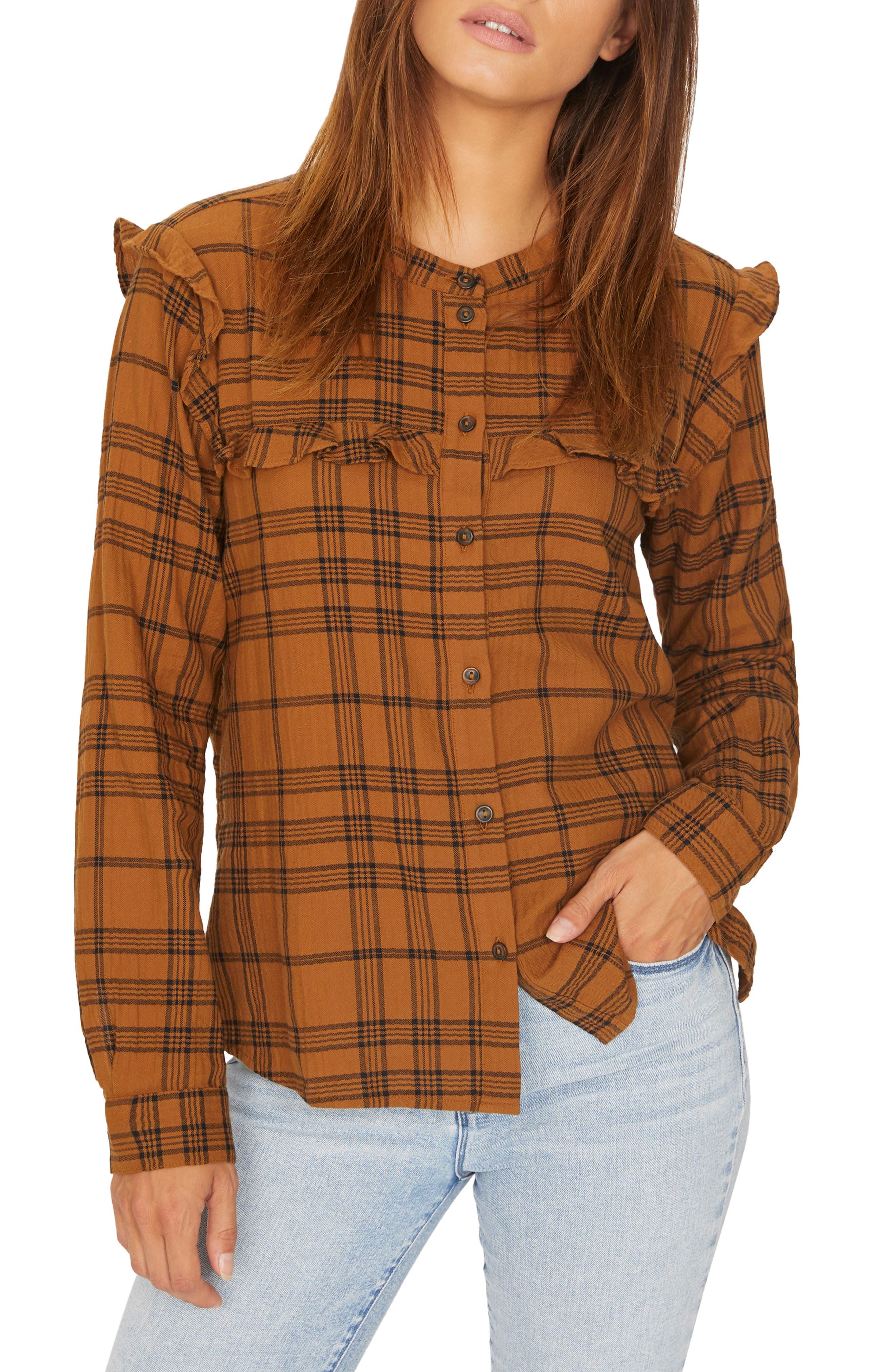 Hill St. Ruffled Plaid Shirt,                             Main thumbnail 1, color,                             AUTUMN PLAID