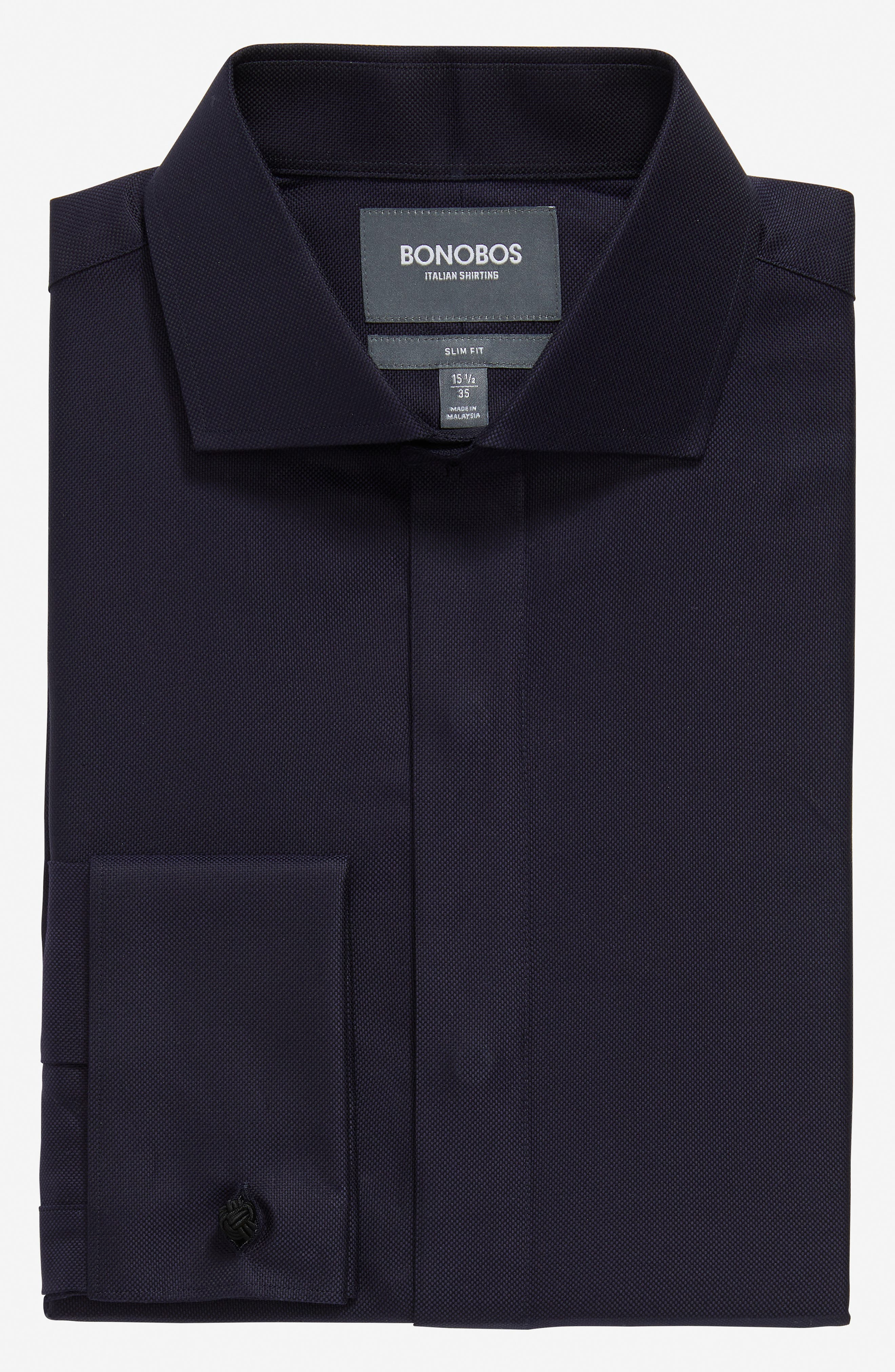 Slim Fit Solid Tuxedo Shirt,                         Main,                         color, NAVY