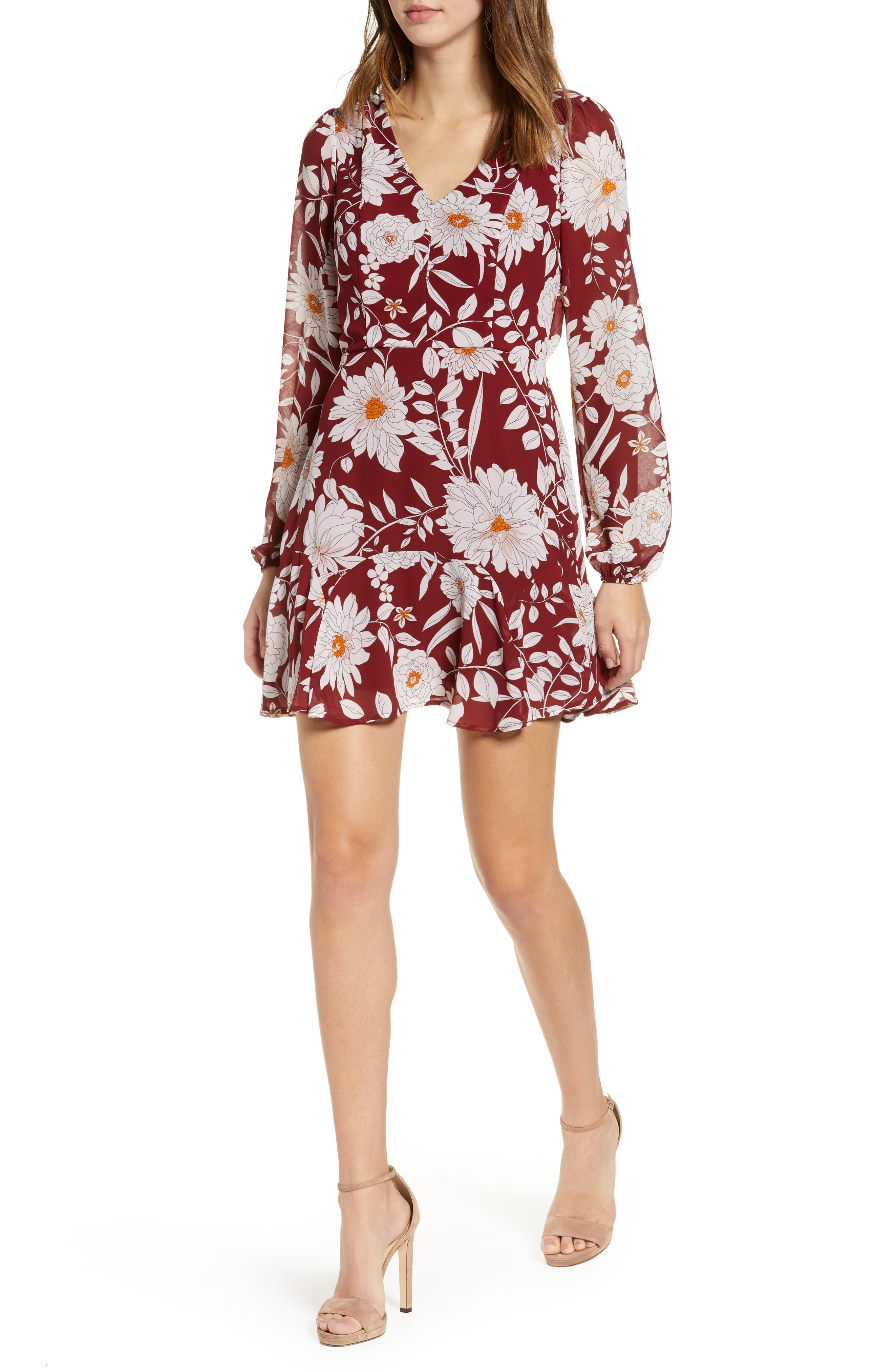 ROW A Floral Print Minidress, Main, color, RED FLORAL