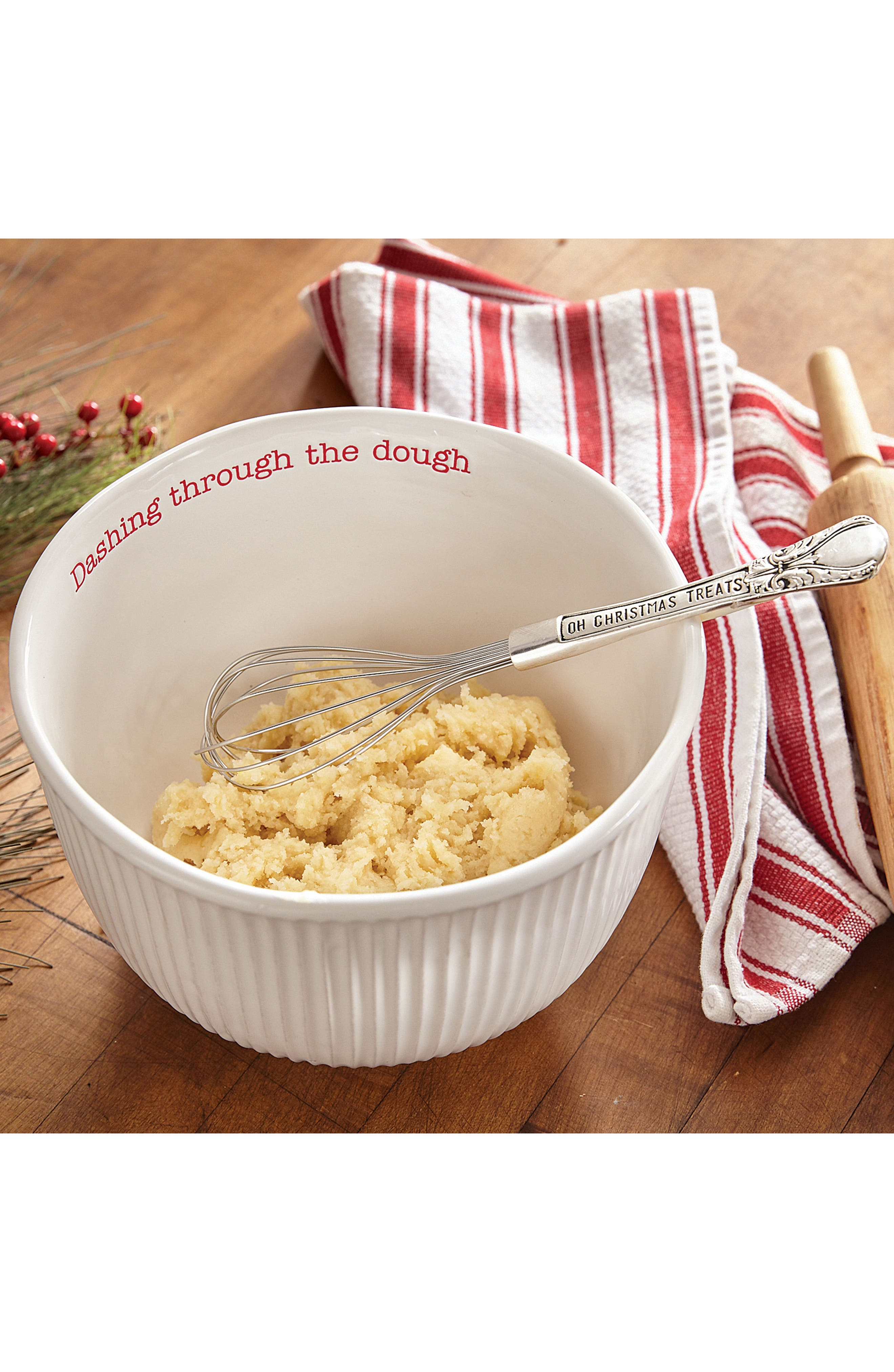 Holiday Stoneware Mixing Bowl & Whisk,                             Alternate thumbnail 2, color,