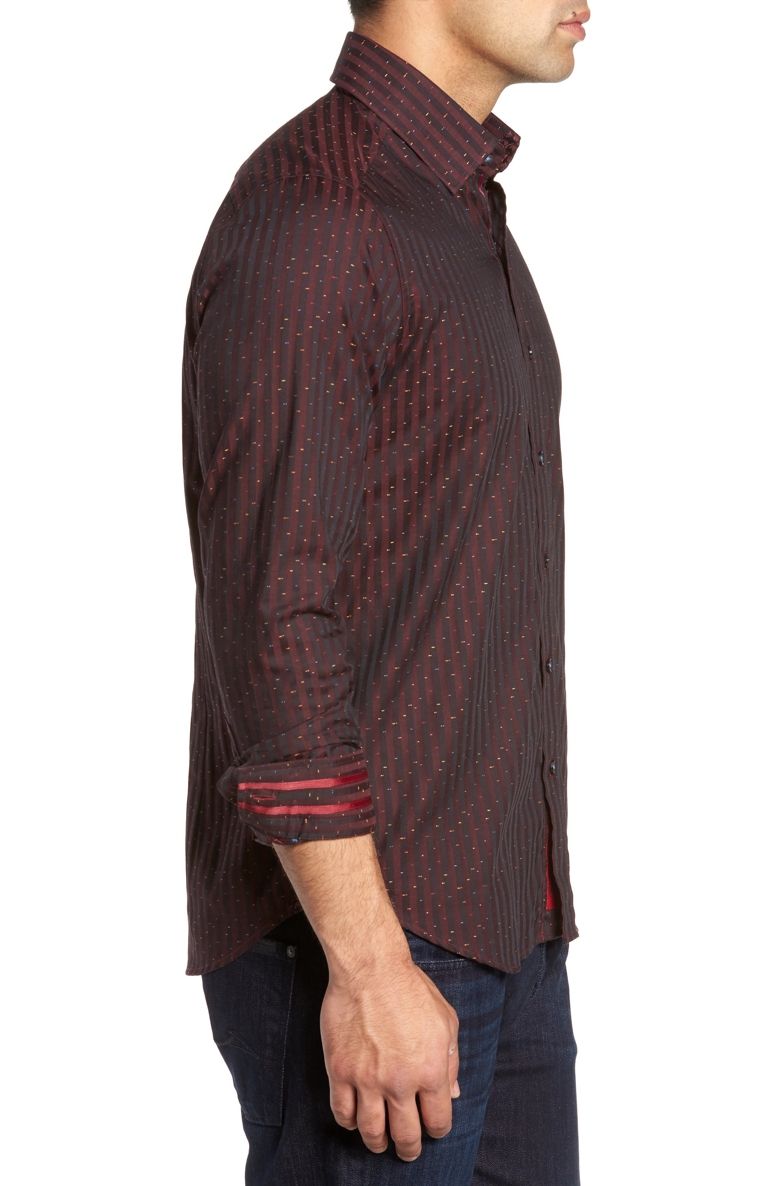 ROBERT GRAHAM,                             McDermott Tailored Fit Print Sport Shirt,                             Alternate thumbnail 4, color,                             603