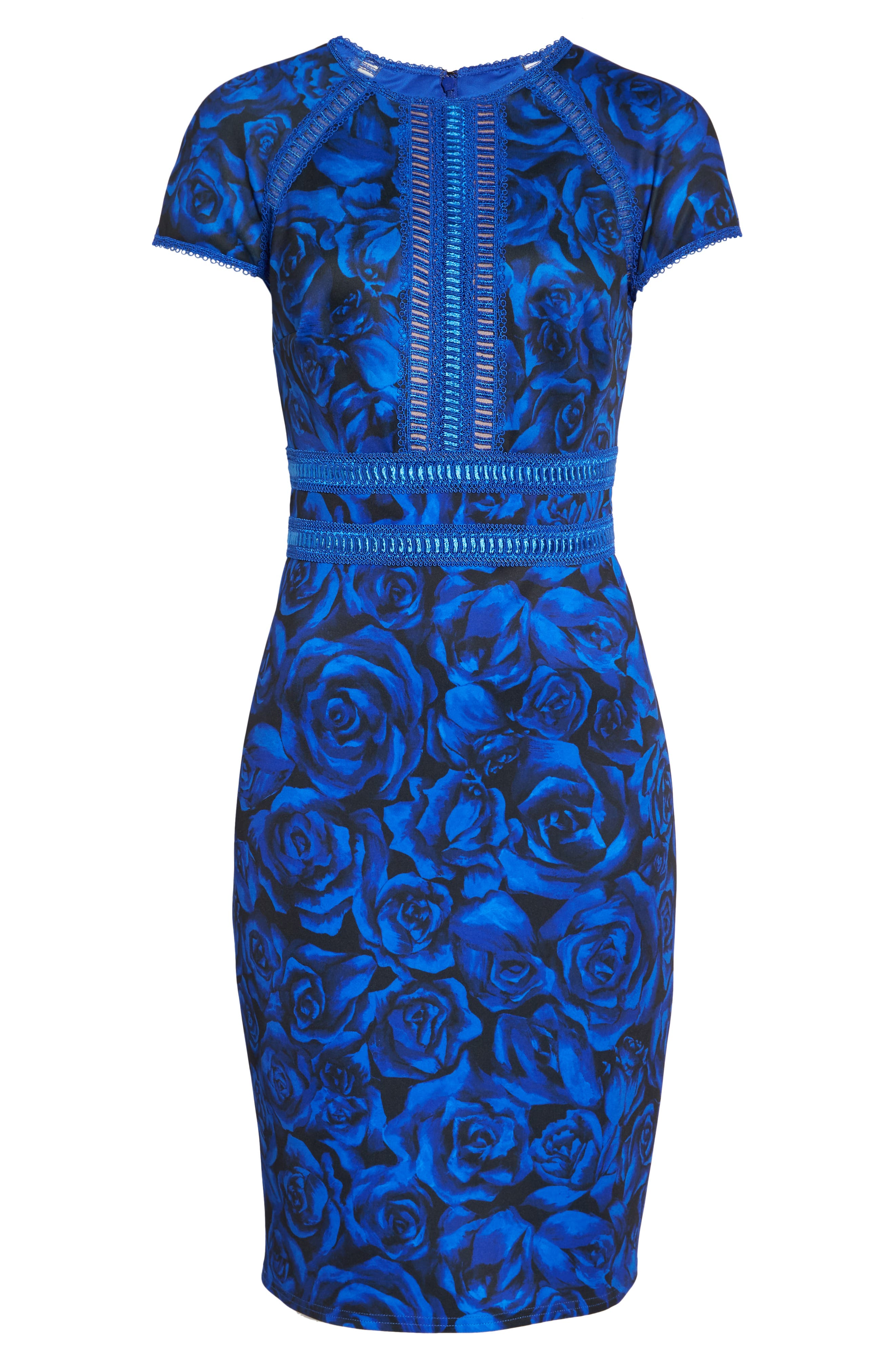 Floral Print Body-Con Dress,                             Alternate thumbnail 6, color,                             ROYAL/ BLACK