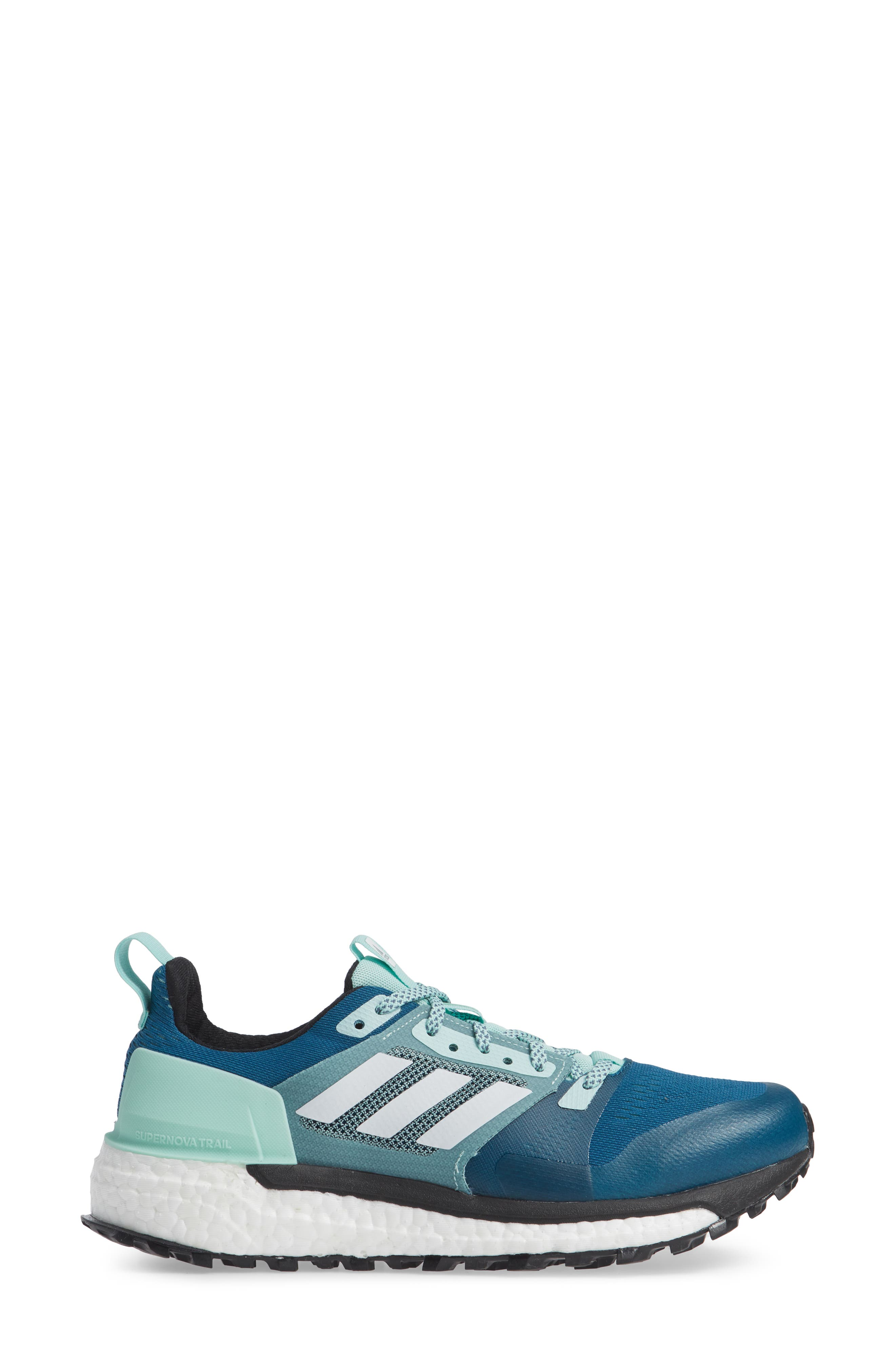Supernova Trail Running Shoe,                             Alternate thumbnail 3, color,                             REAL TEAL/ WHITE/ CLEAR MINT