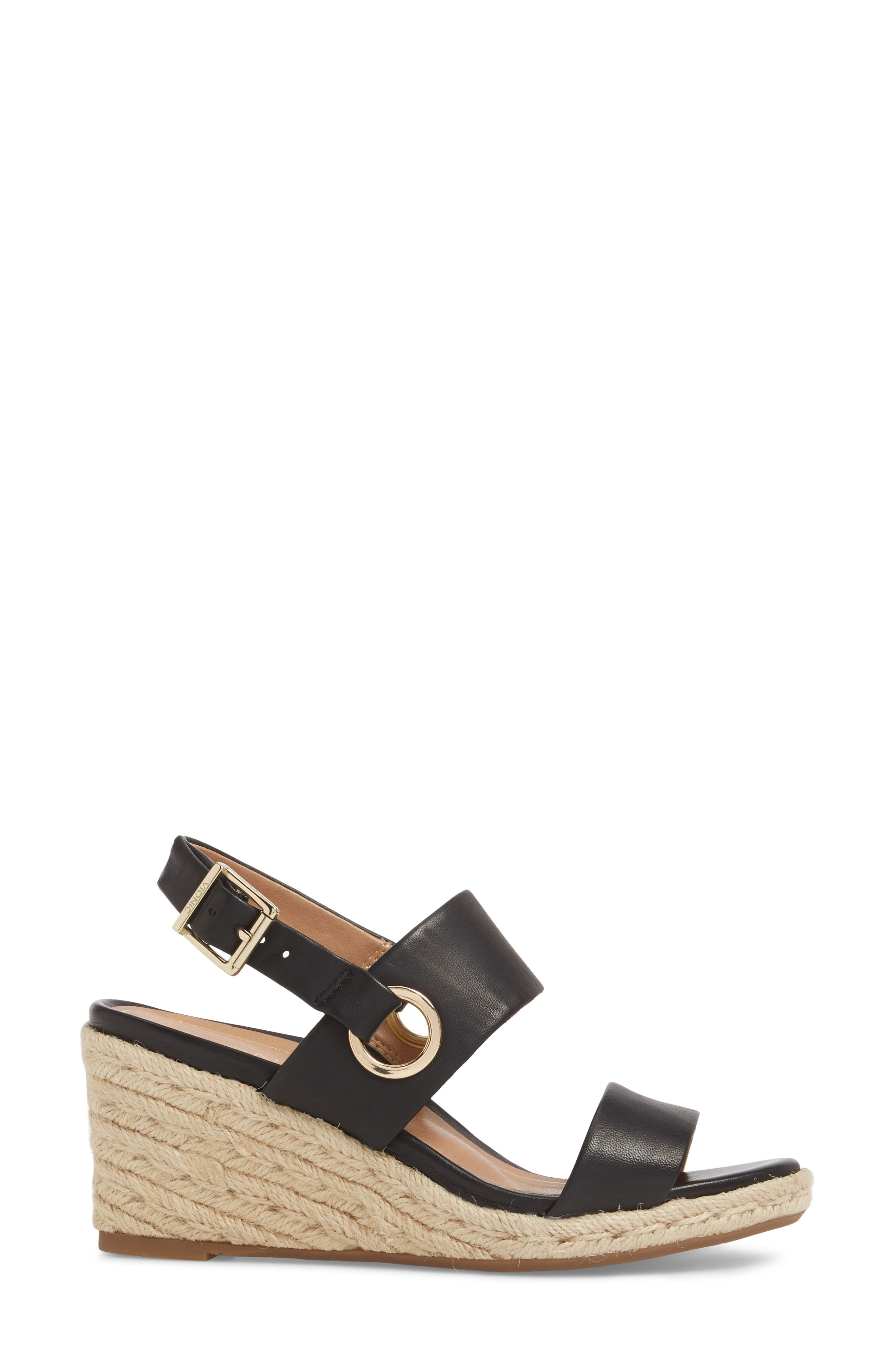 Vero Espadrille Wedge,                             Alternate thumbnail 3, color,                             BLACK LEATHER