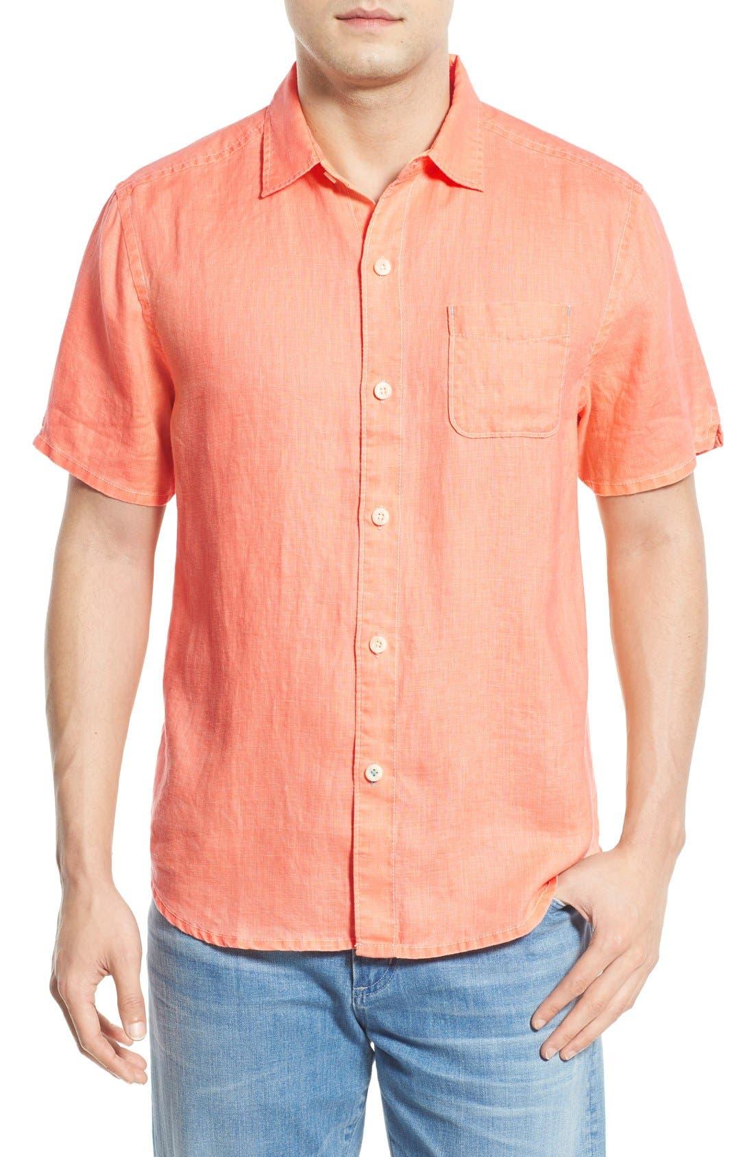 Seaglass Breezer Short Sleeve Linen Sport Shirt,                             Main thumbnail 22, color,