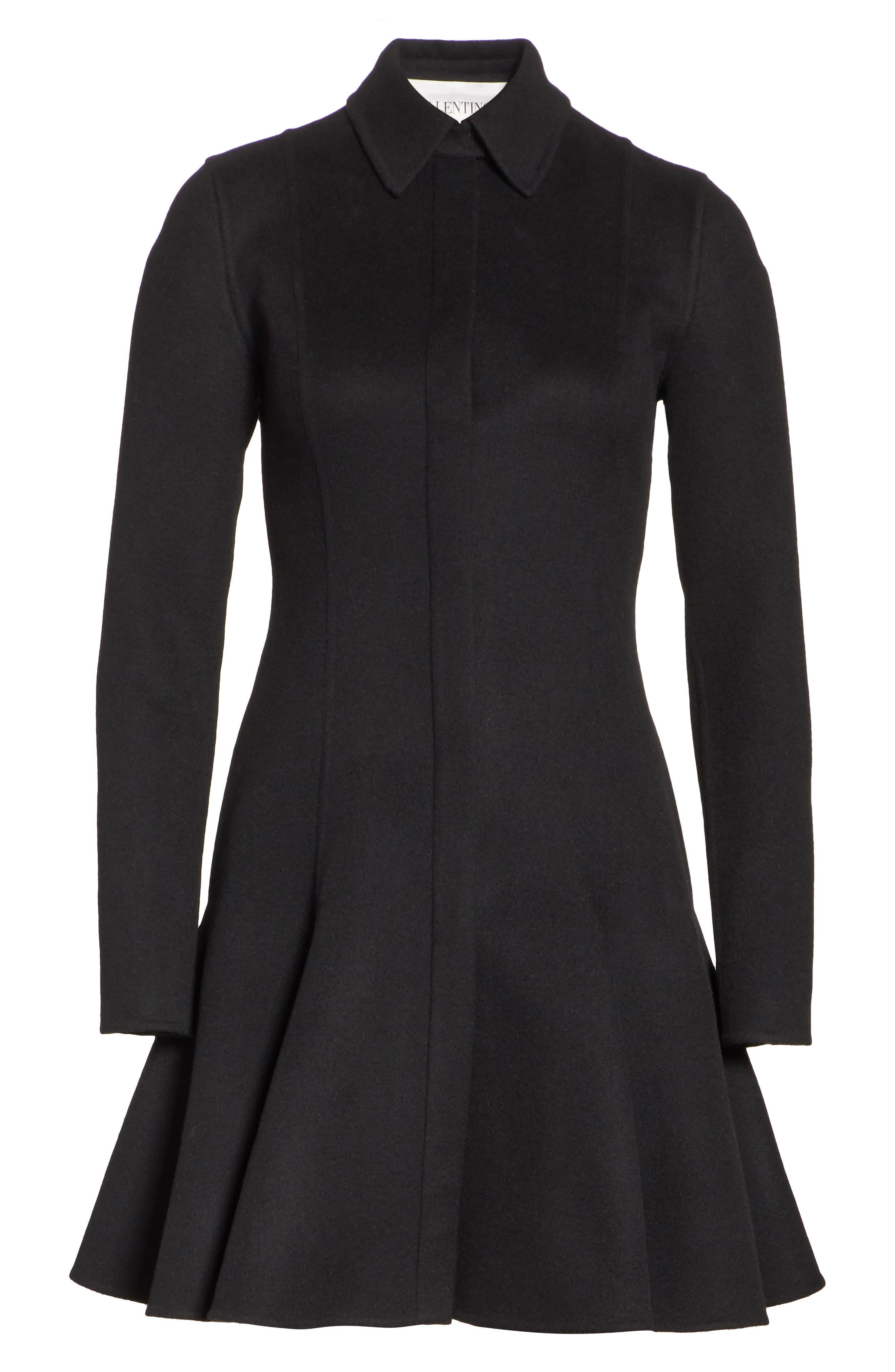 Compact Double Face Wool Peplum Coat,                             Alternate thumbnail 6, color,                             BLACK