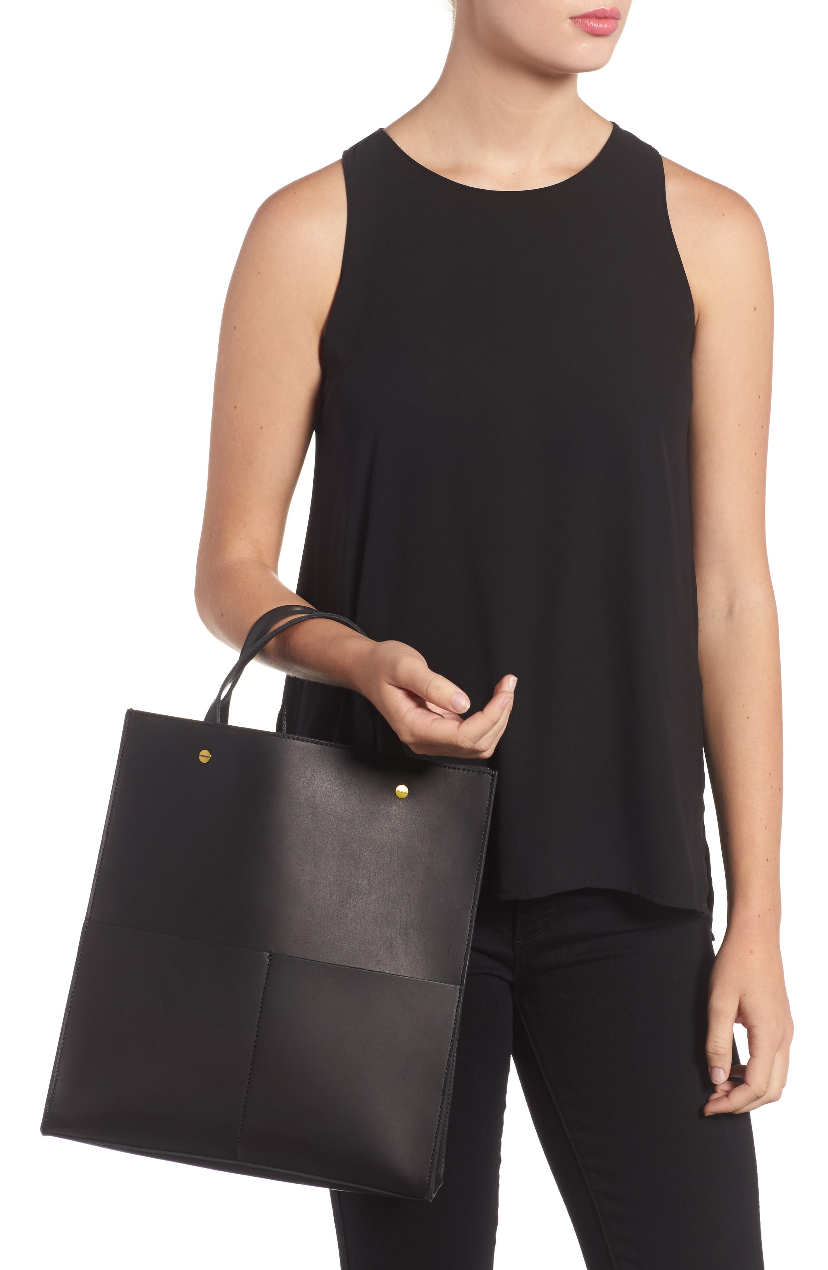 The Passenger Convertible Leather Tote,                             Alternate thumbnail 4, color,