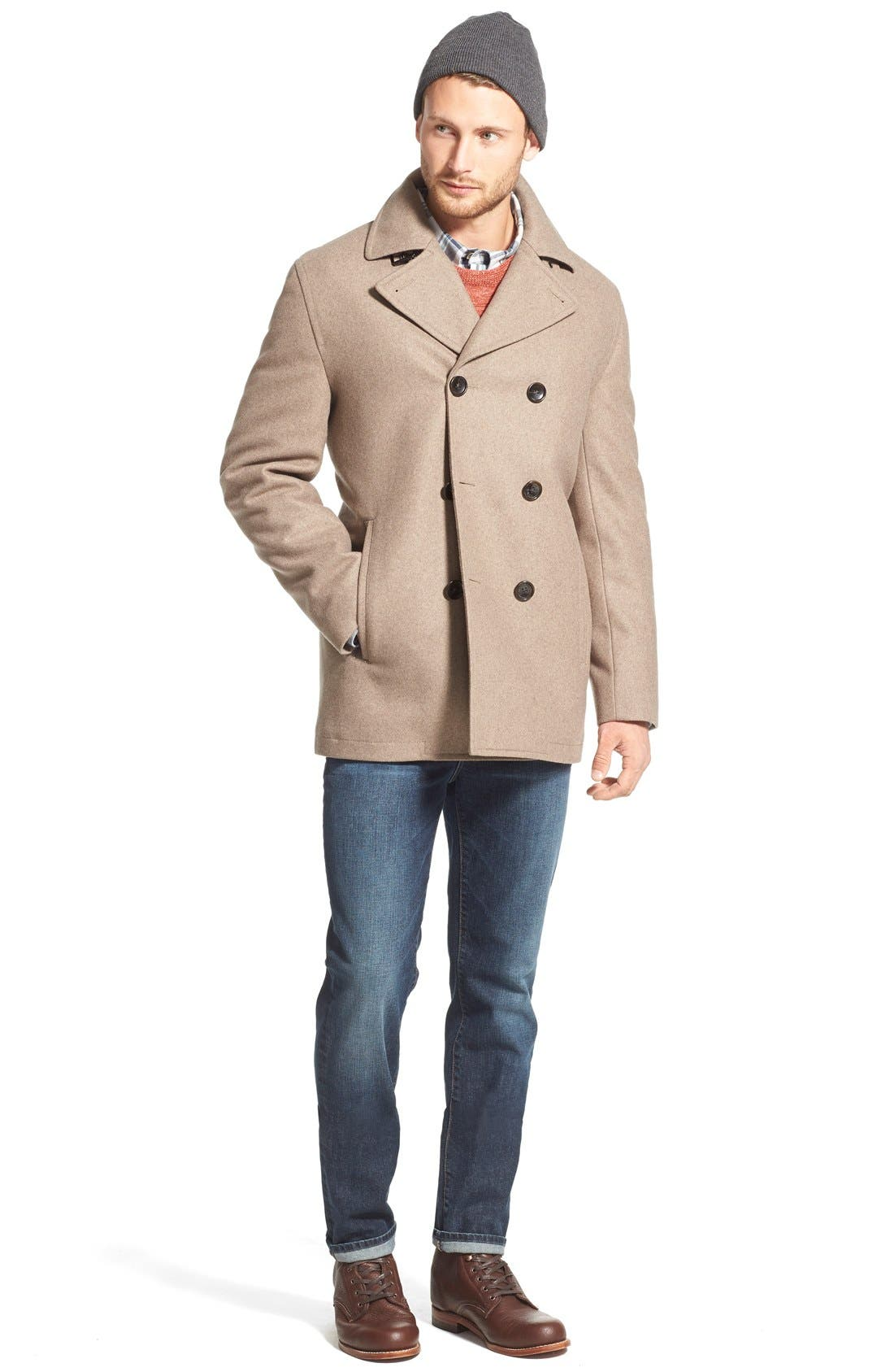 Wool Blend Double Breasted Peacoat,                             Alternate thumbnail 97, color,