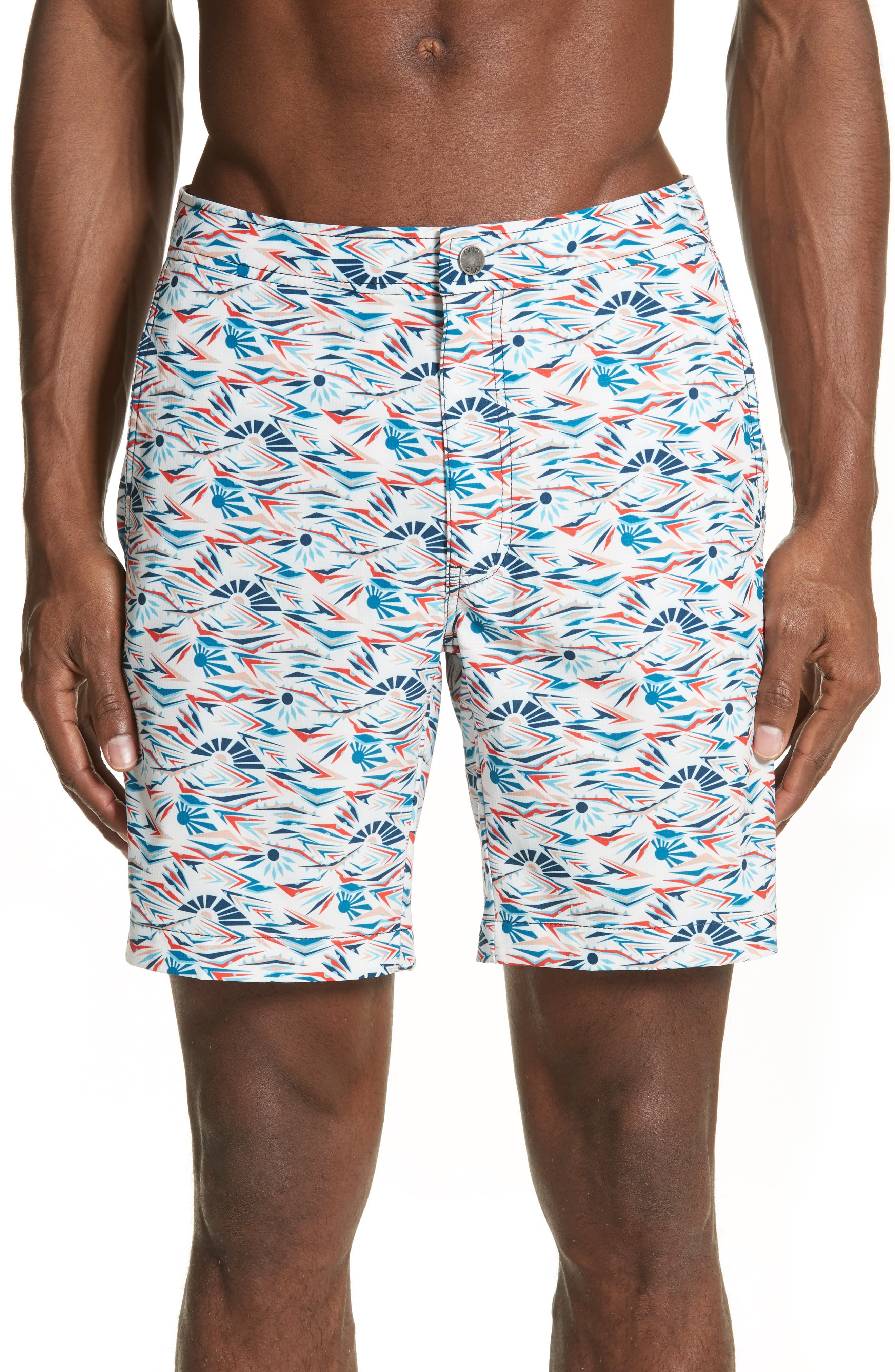 Calder Sunrise Print Swim Trunks,                         Main,                         color, WHITE MULTI