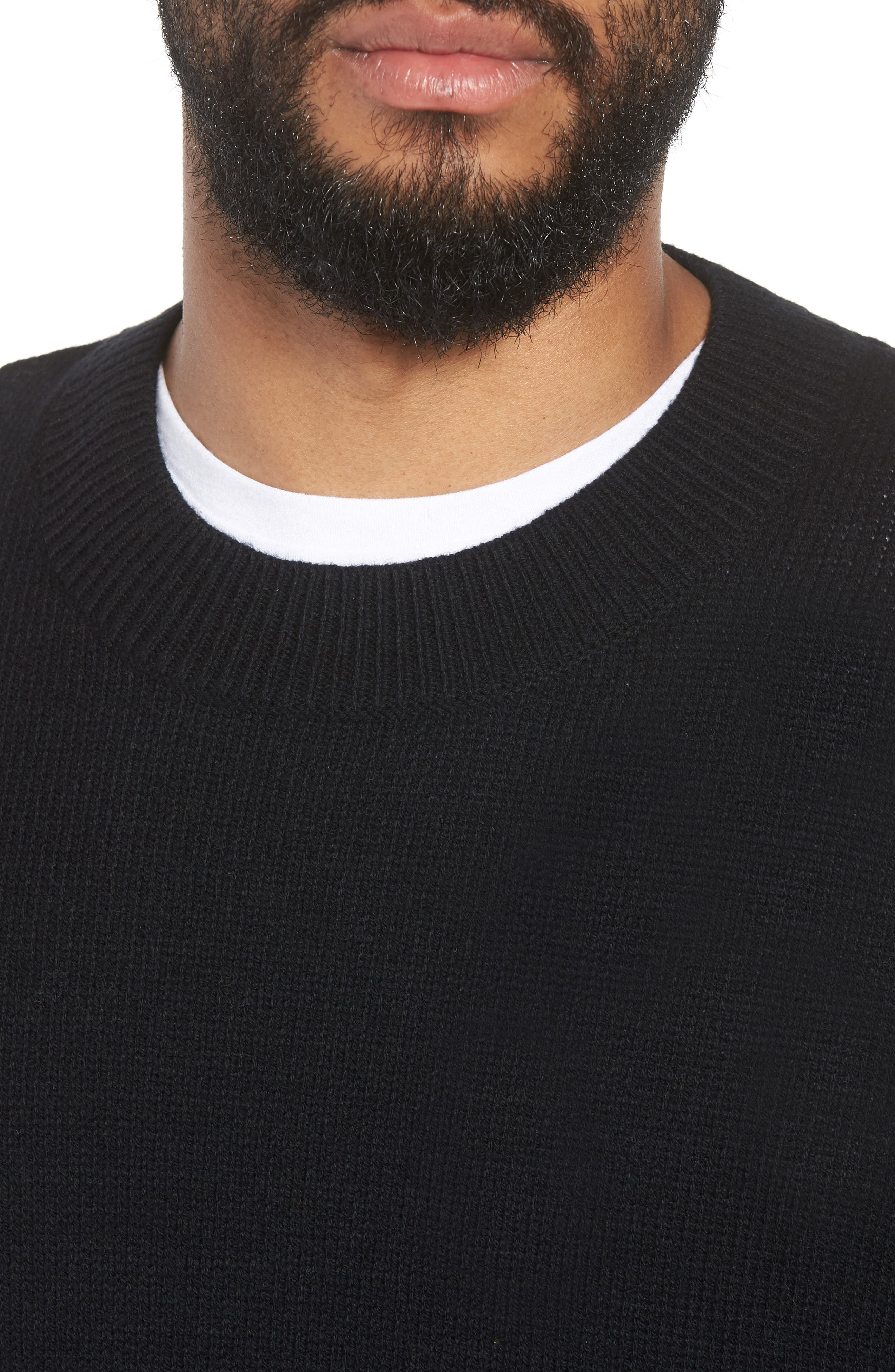 Crewneck Sweater,                             Alternate thumbnail 4, color,                             BLACK ROCK