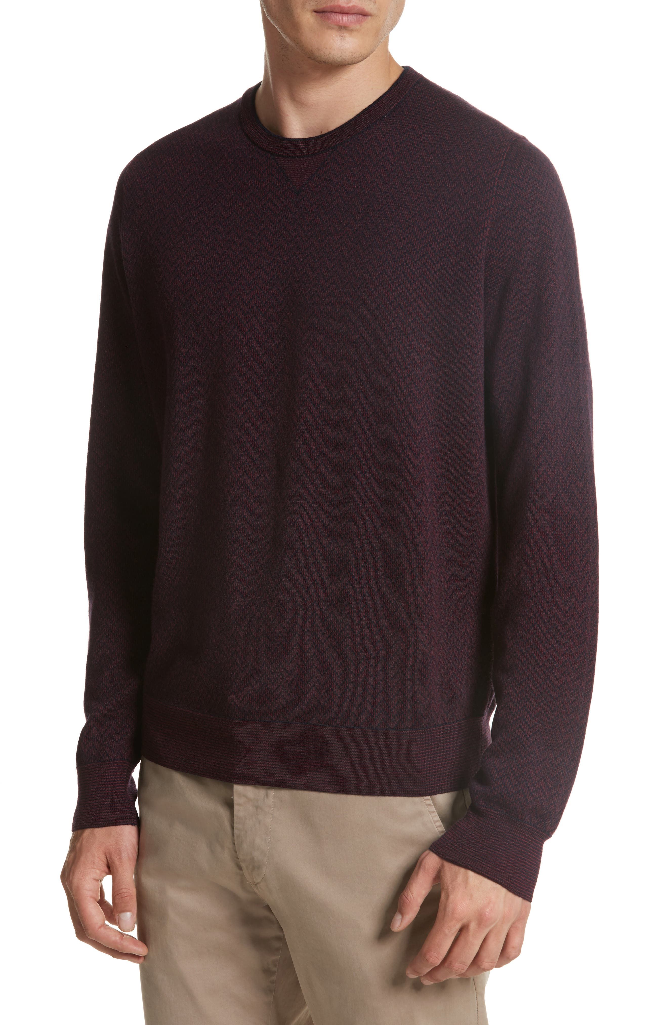 Regular Fit Two-Tone Wool Sweater,                             Alternate thumbnail 4, color,                             601