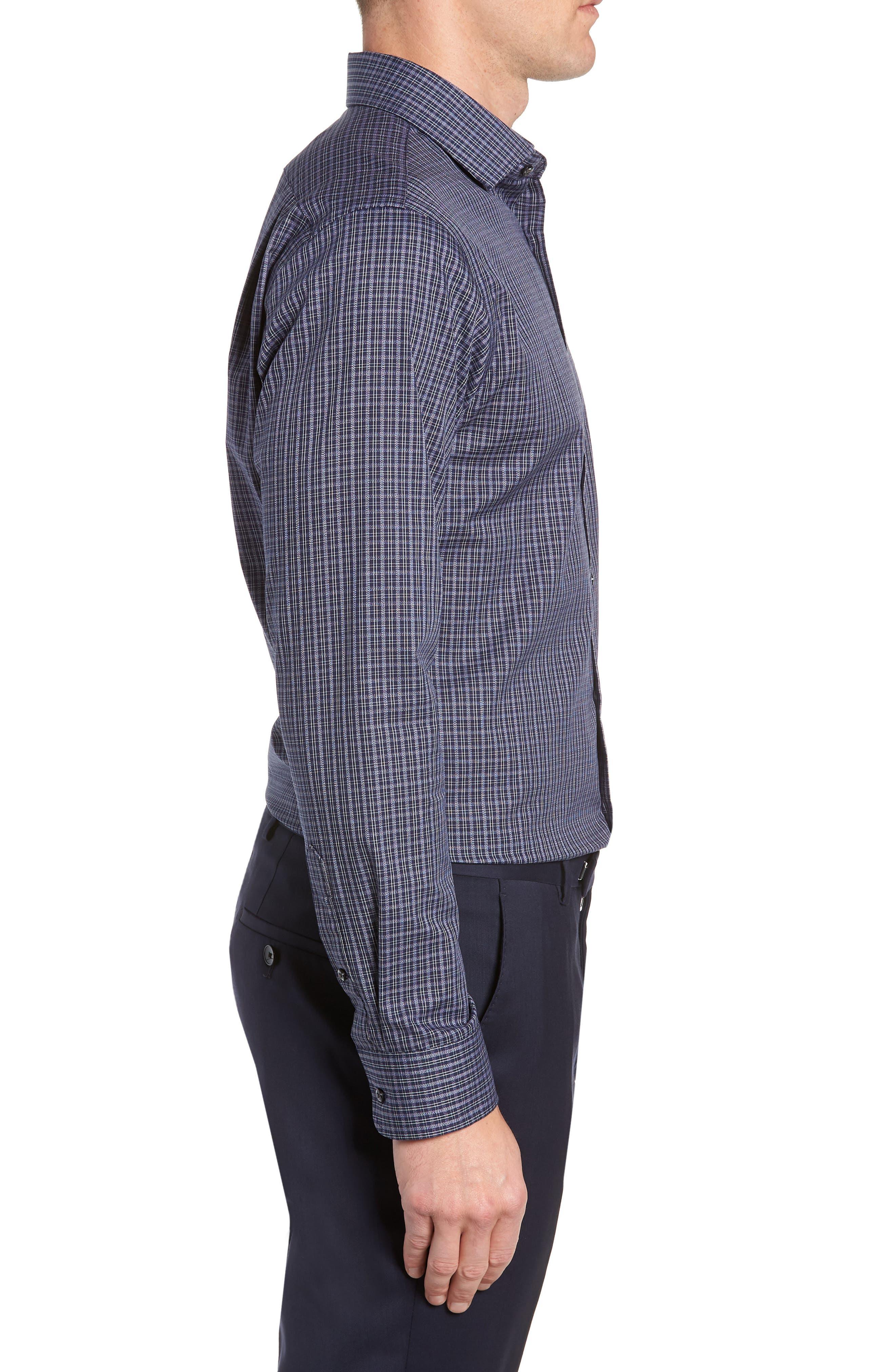 Trim Fit Non-Iron Plaid Dress Shirt,                             Alternate thumbnail 4, color,                             NAVY NIGHT