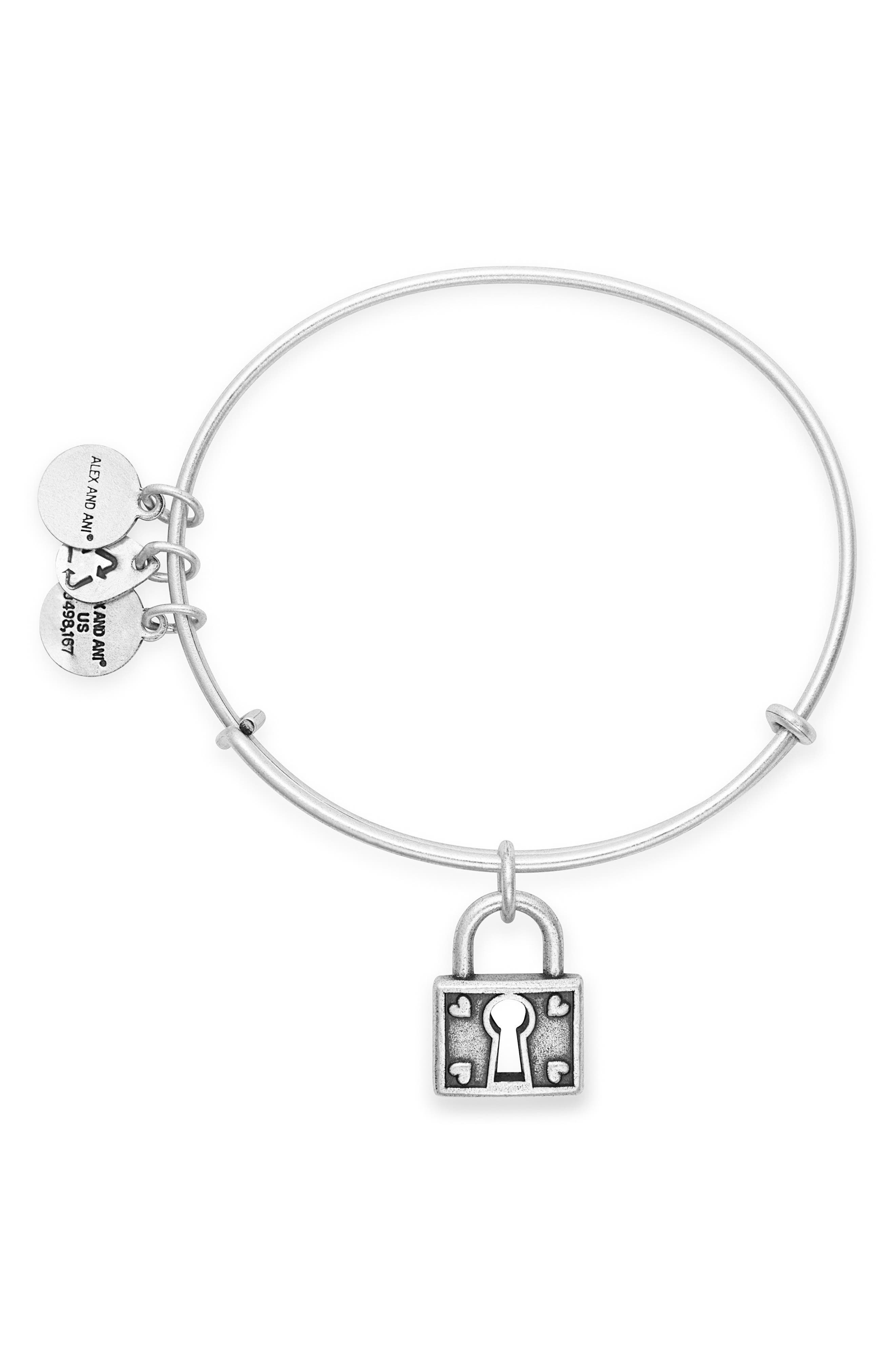 Unbreakable Love Adjustable Wire Bangle,                             Alternate thumbnail 2, color,                             SILVER