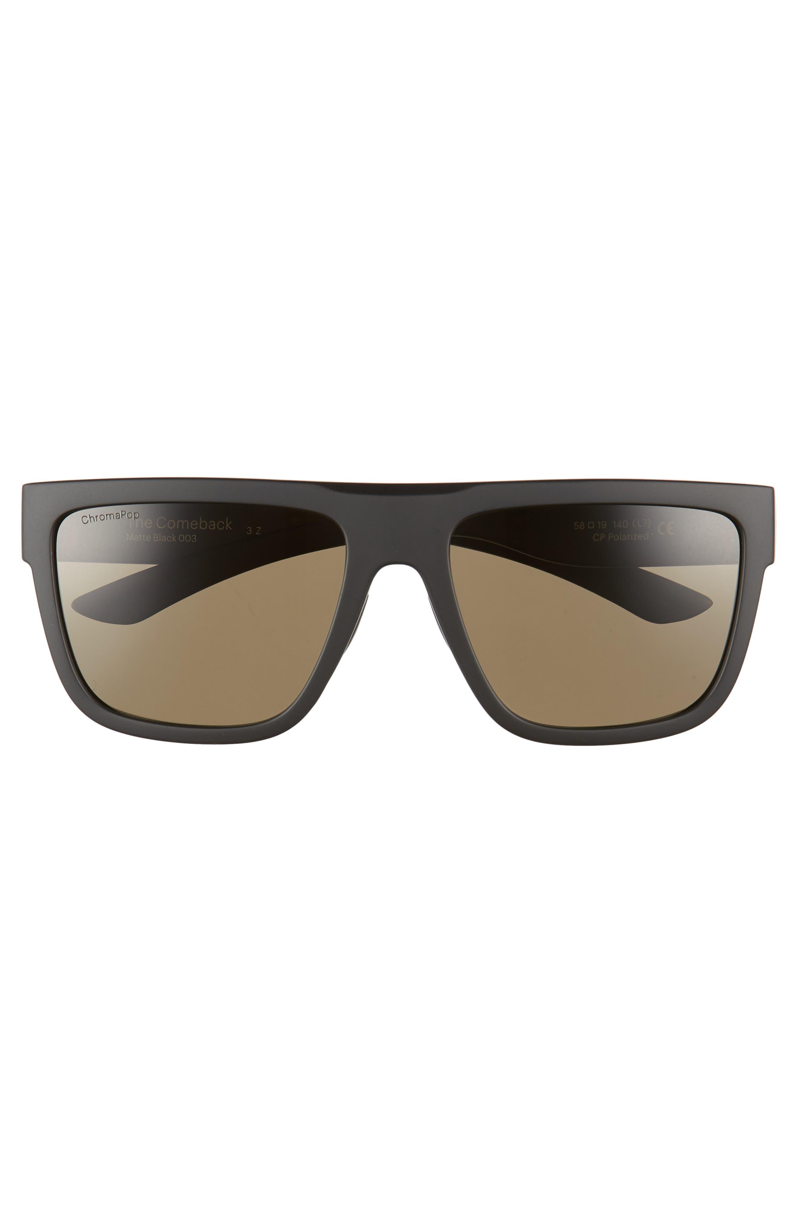 The Comeback 58mm ChromaPop<sup>™</sup> Square Sunglasses,                             Alternate thumbnail 3, color,                             MATTE BLACK