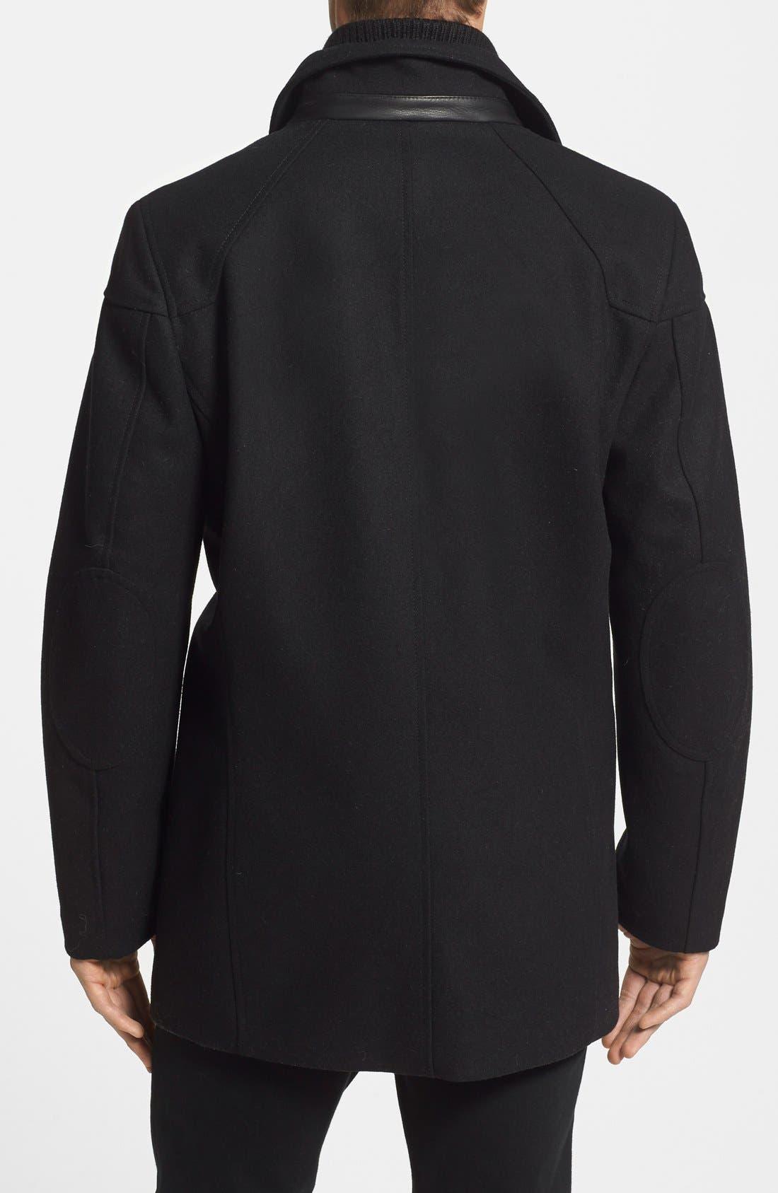 Melton Car Coat with Removable Bib,                             Alternate thumbnail 8, color,                             BLACK
